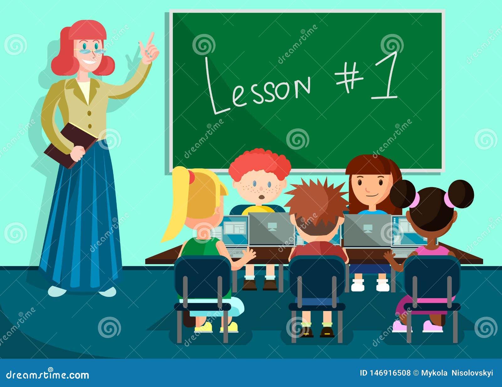 Leerlingen Luisterleraar in Klaslokaal op Les