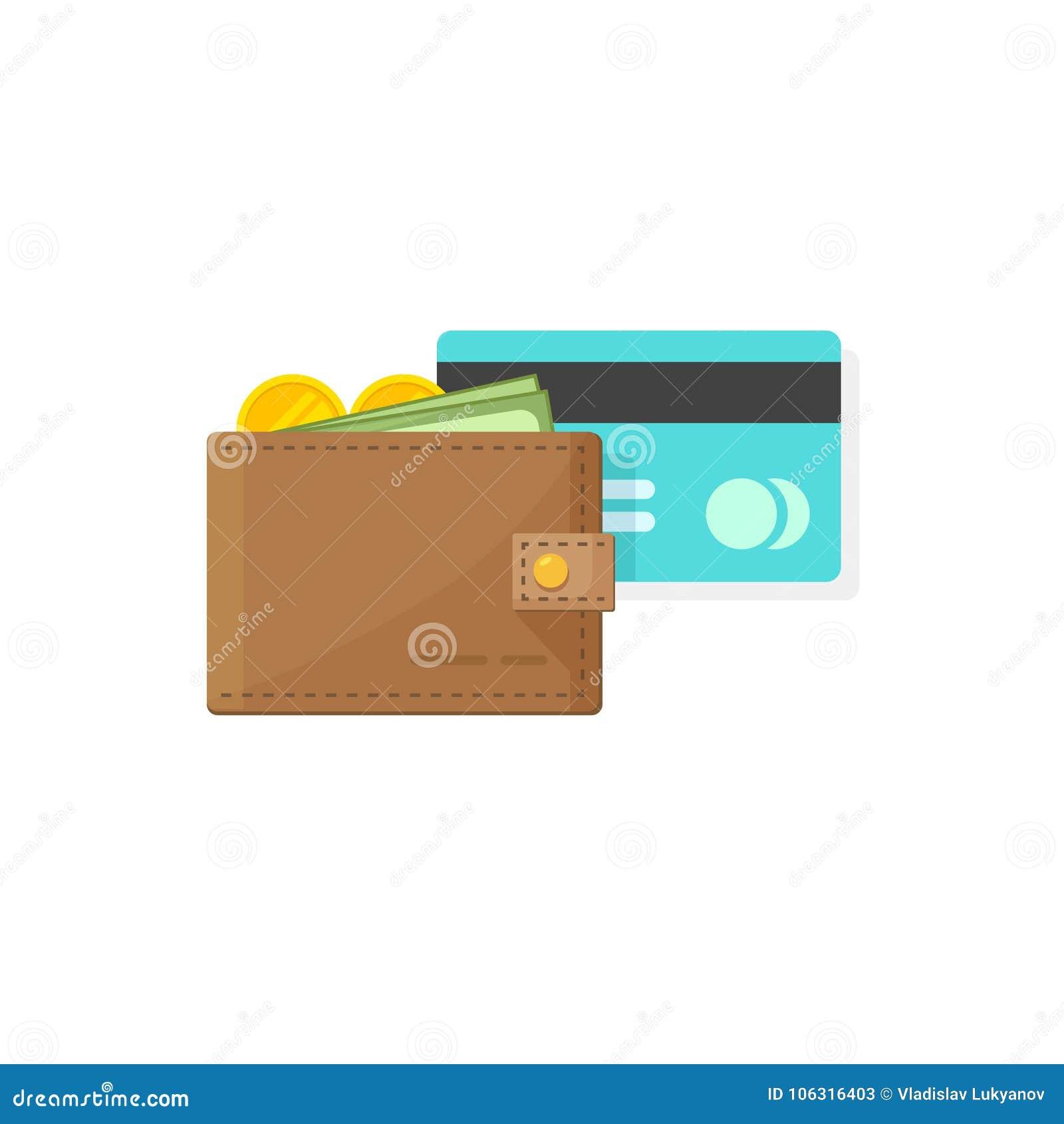 Leerportefeuille met muntstukkengeld, document contant geld en krediet of ontwerp van het de illustratie vlakke beeldverhaal van