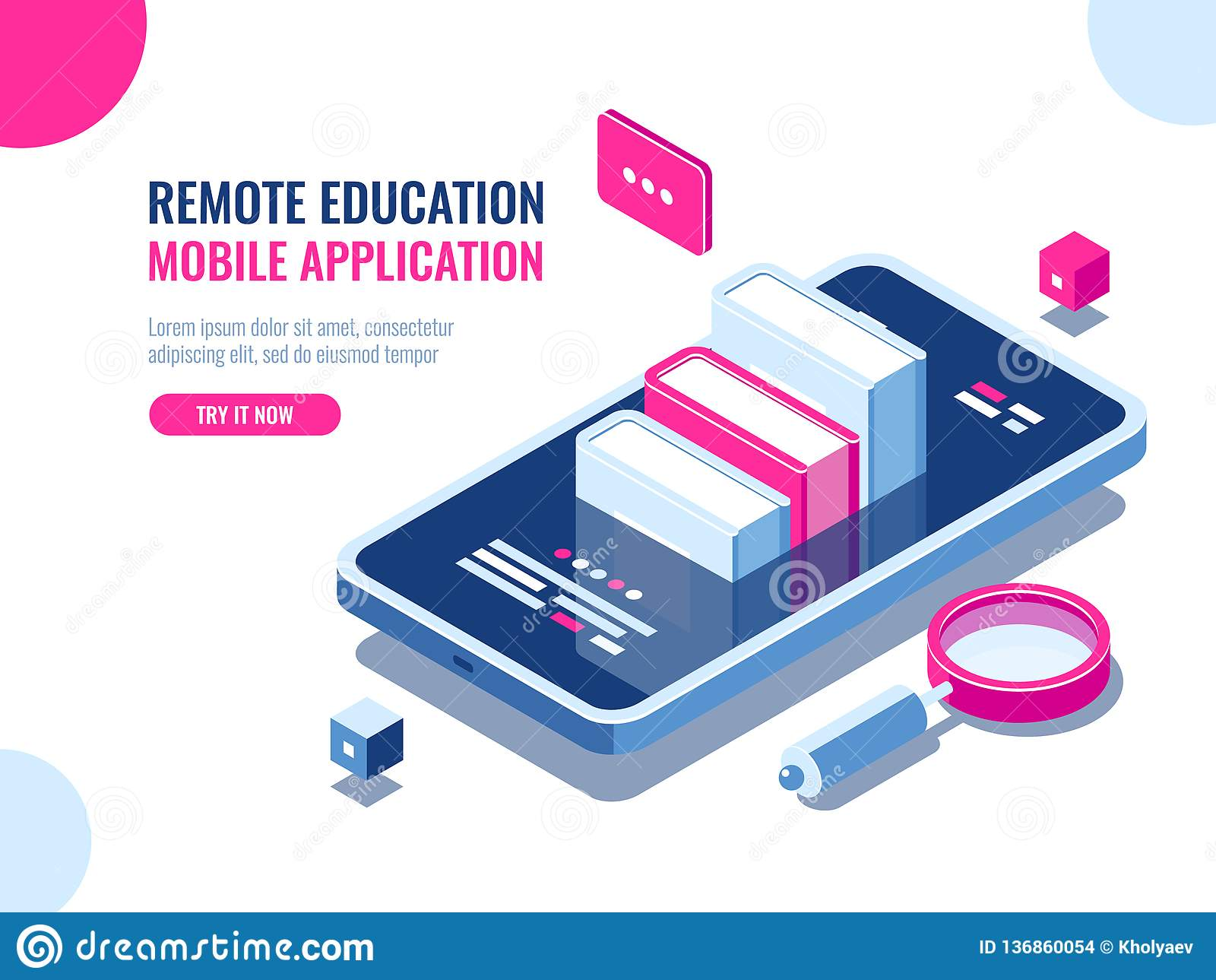 Leerprogramma op mobiele telefoontoepassing, online onderwijs die, Internet-cursus, gegevens, de vlakte van het archief ebook bee