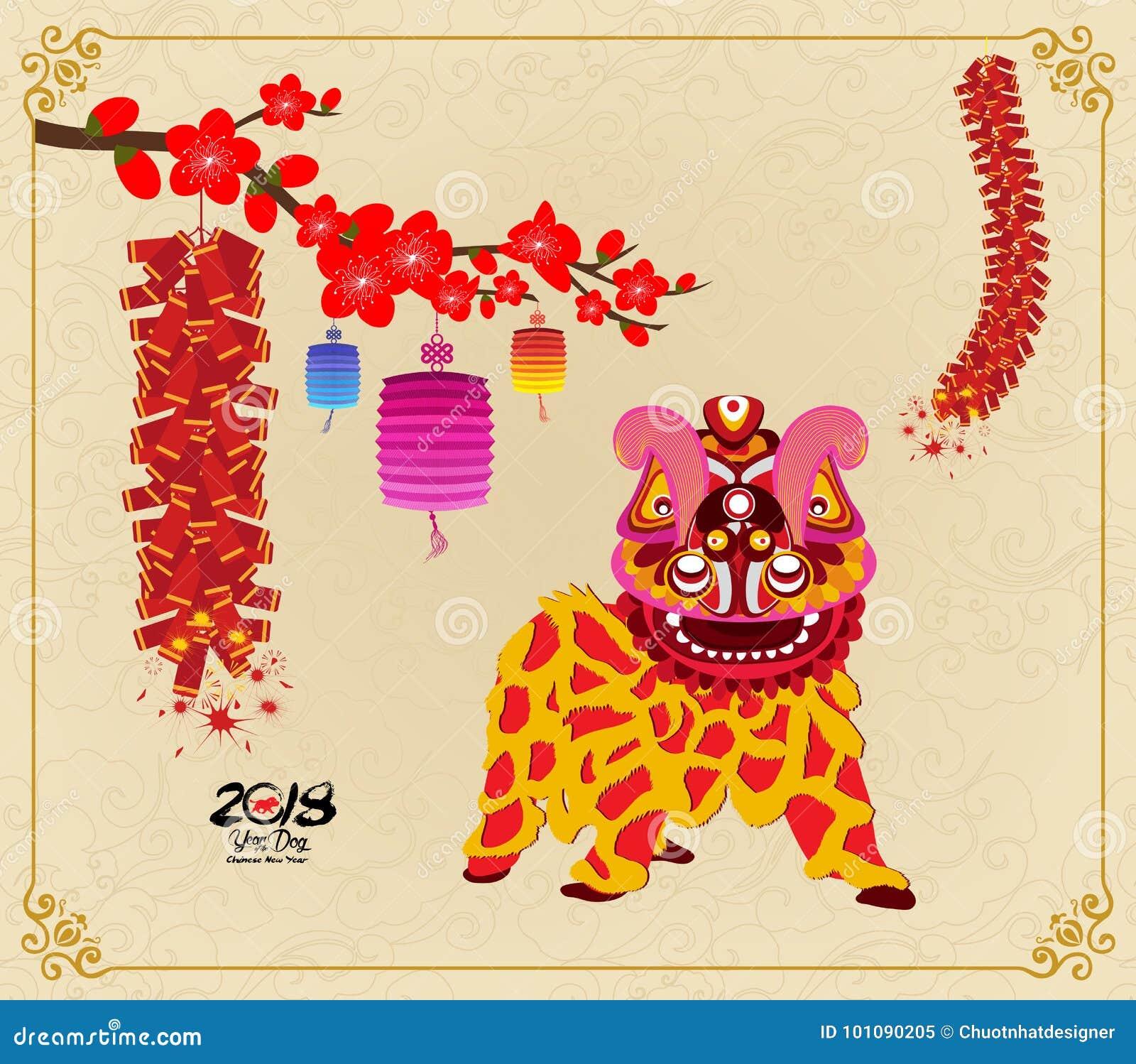 Leeuw het dansen en Chinees nieuw jaar met voetzoeker