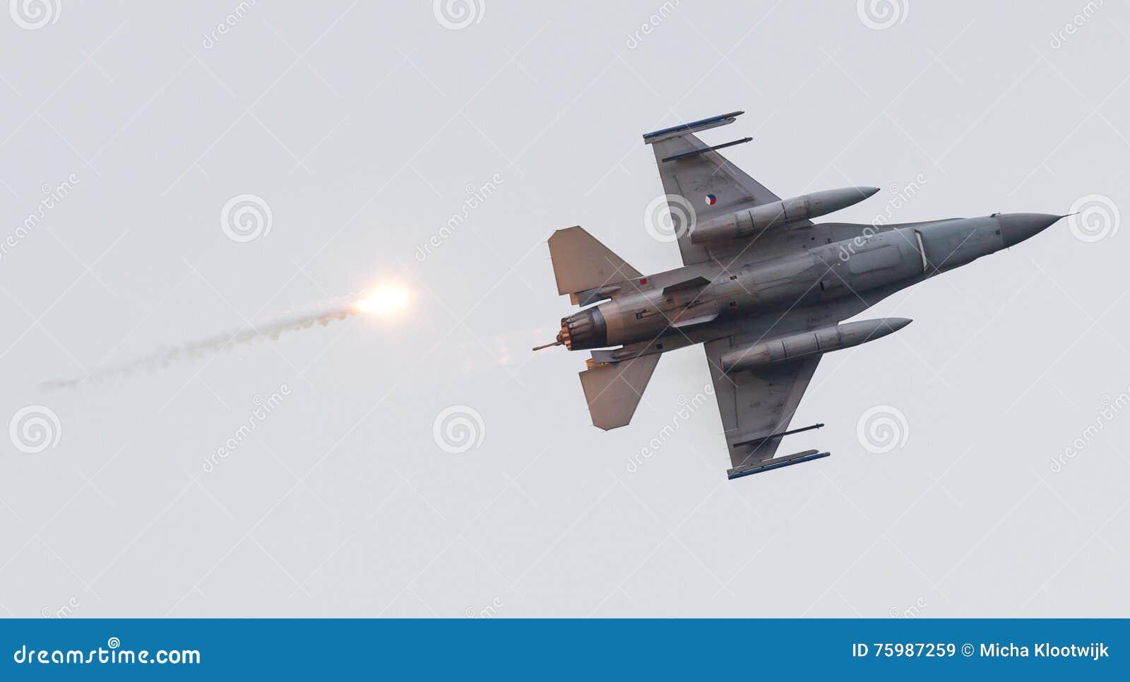 LEEUWARDEN, THE NETHERLANDS - JUN 11, 2016: Dutch F-16 fighter j
