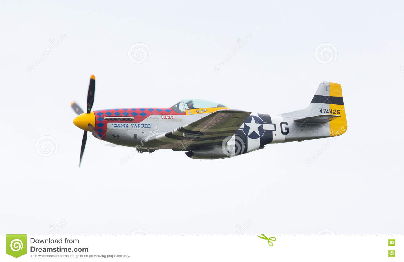LEEUWARDEN, THE NETHERLANDS - JUNE 10: P51 Mustang displaying at
