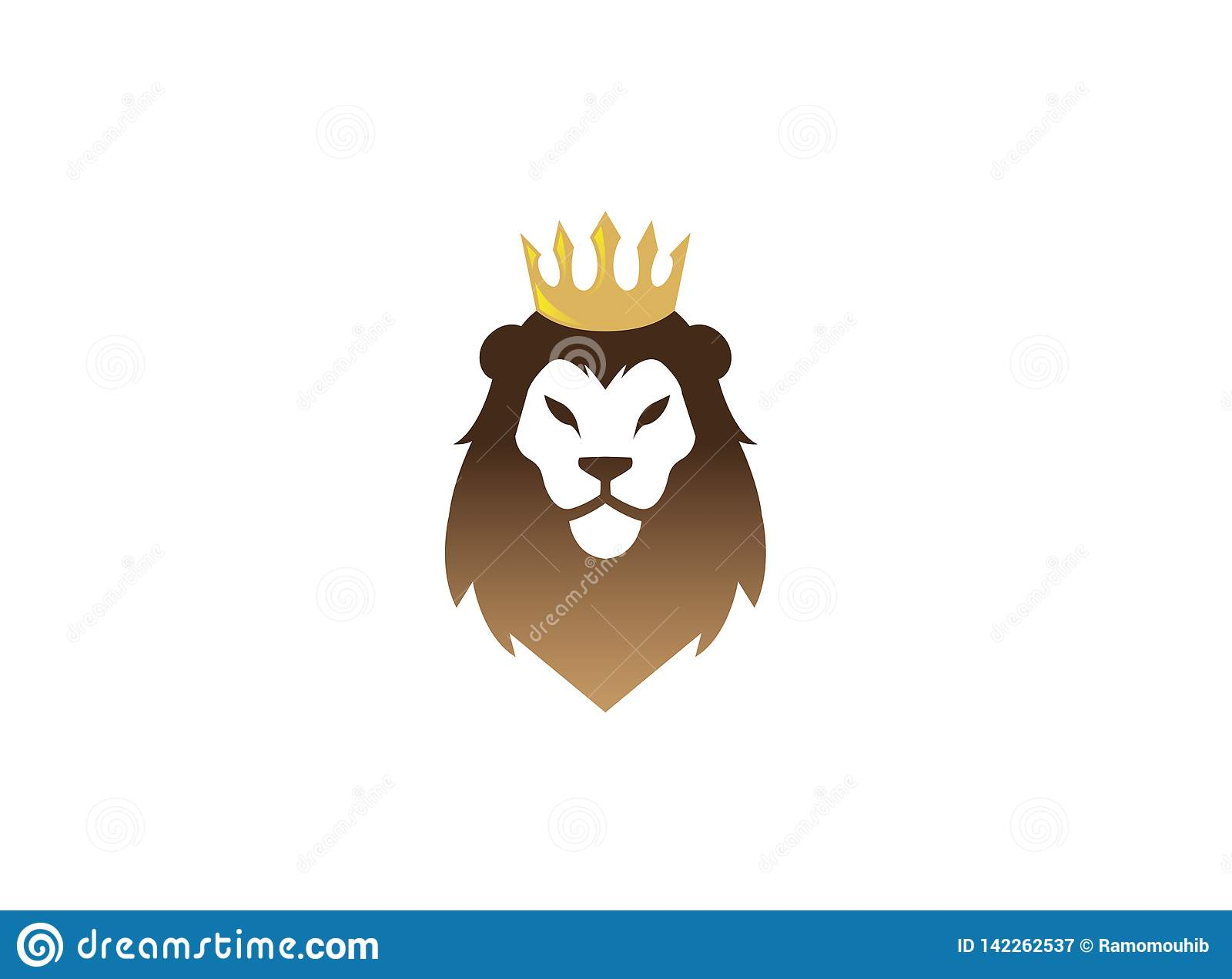 Leeuwgezicht en Hoofd met gouden Kroonembleem