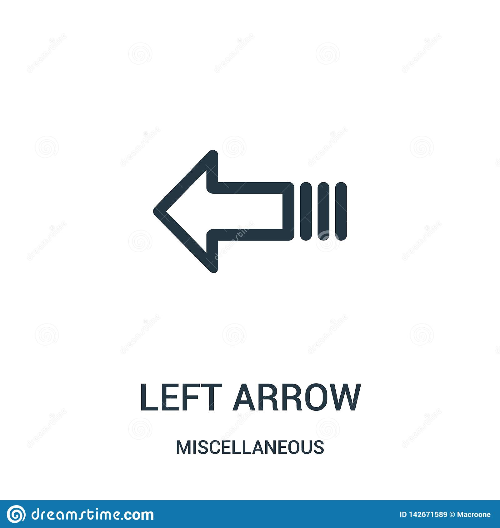 left arrow icon vector from miscellaneous collection. Thin line left arrow outline icon vector illustration. Linear symbol for use