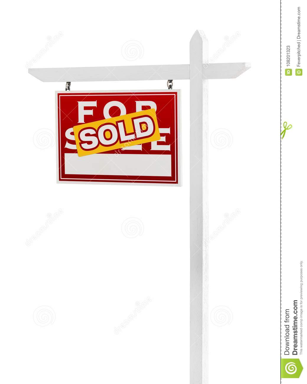 Left Facing Sold For Sale Real Estate Sign on White