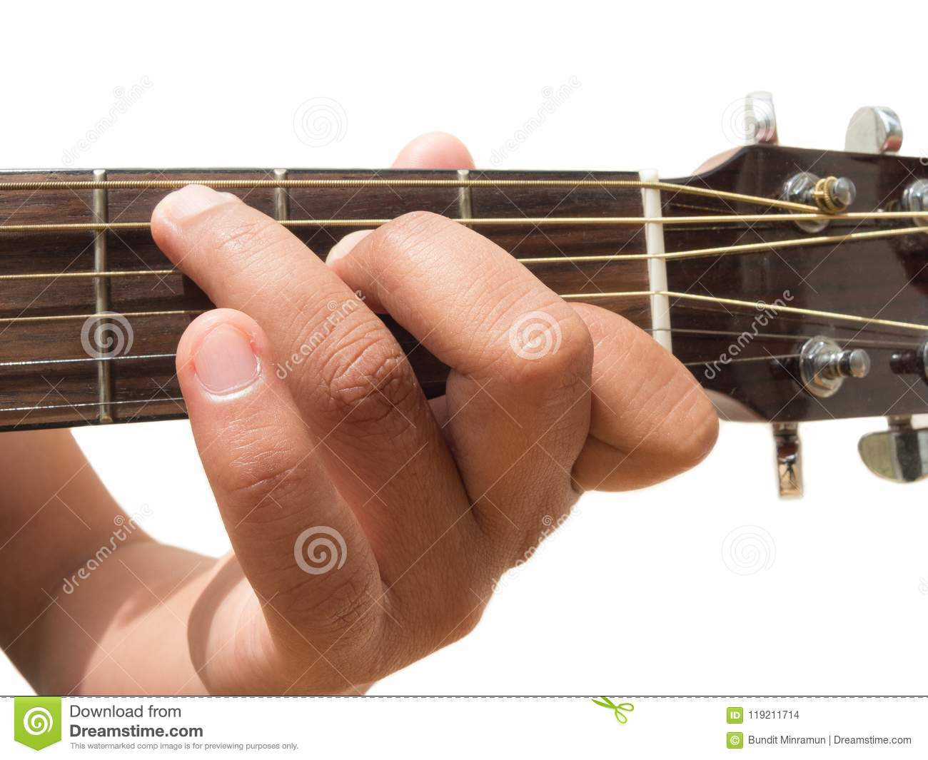 Left Hand Gesture Chord C Guitar Chord Finger Position In Close Up