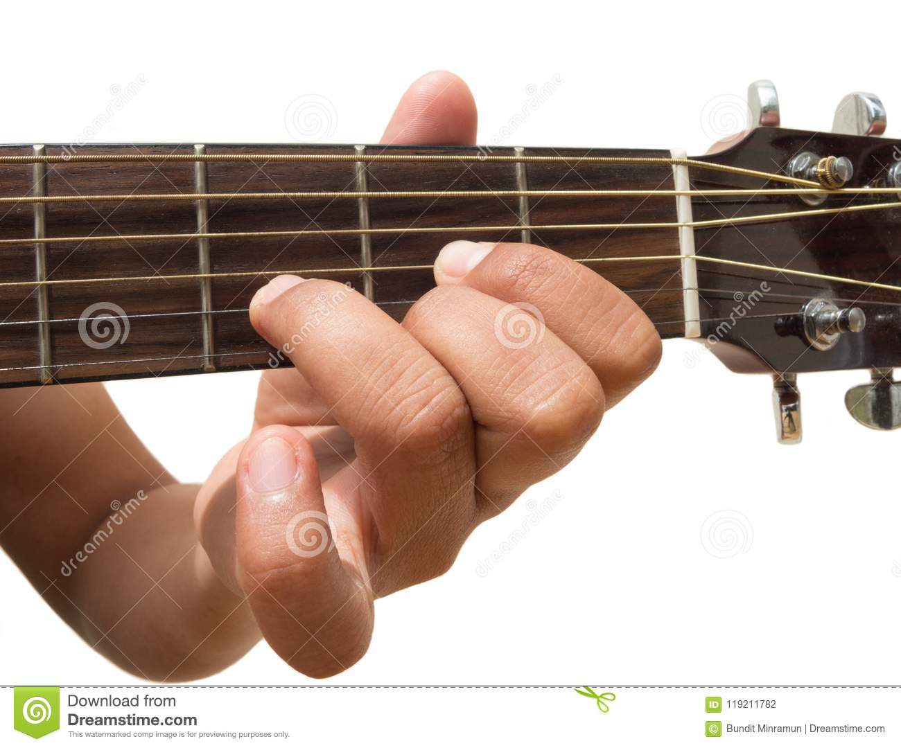 Left Hand Gesture Chord D Guitar Chord Finger Position In Close Up