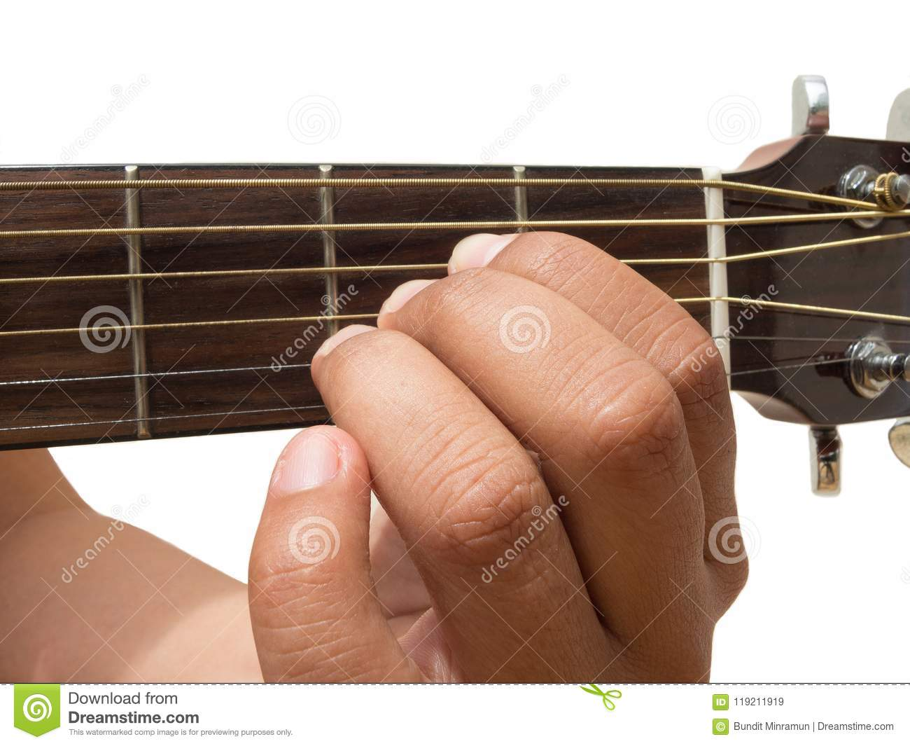 Left Hand Gesture Chord A Guitar Chord Finger Position In Close Up