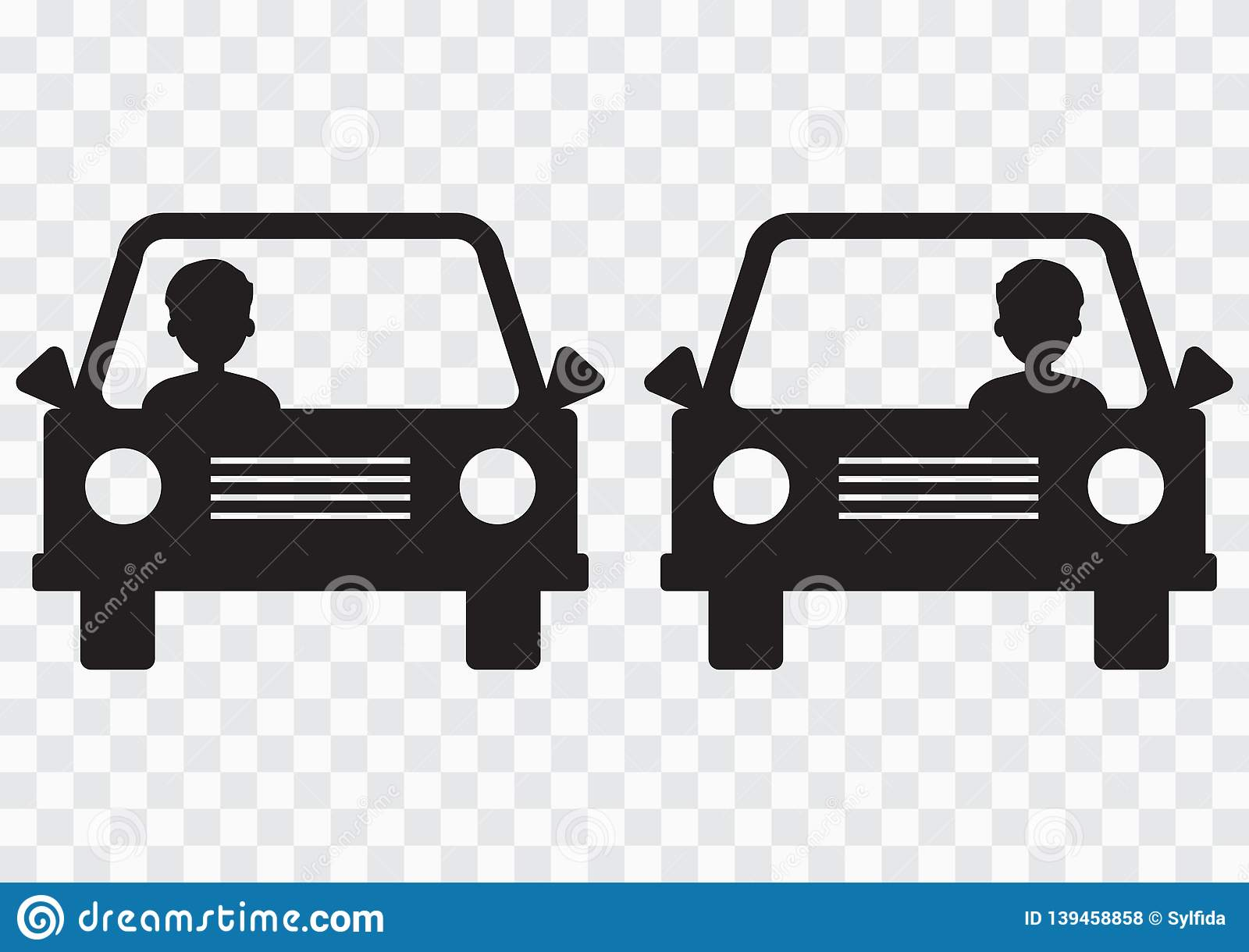 Left-hand and right-hand traffic. Cars with driver on transparent background. Vector illustration
