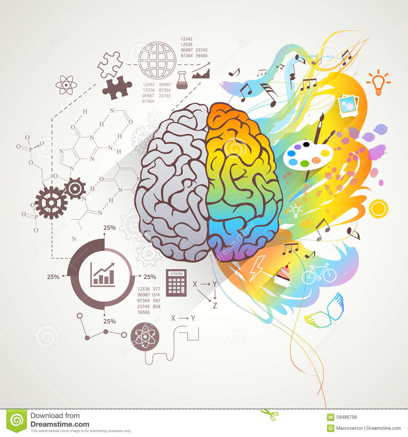 Left Right Brain Concept stock vector. Image of concept ...