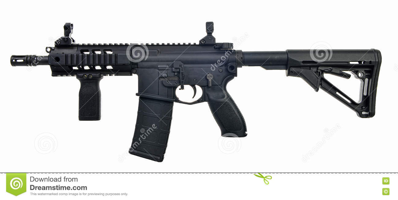 Left side AR15 SBR with 30rd mag and extended collapsible stock