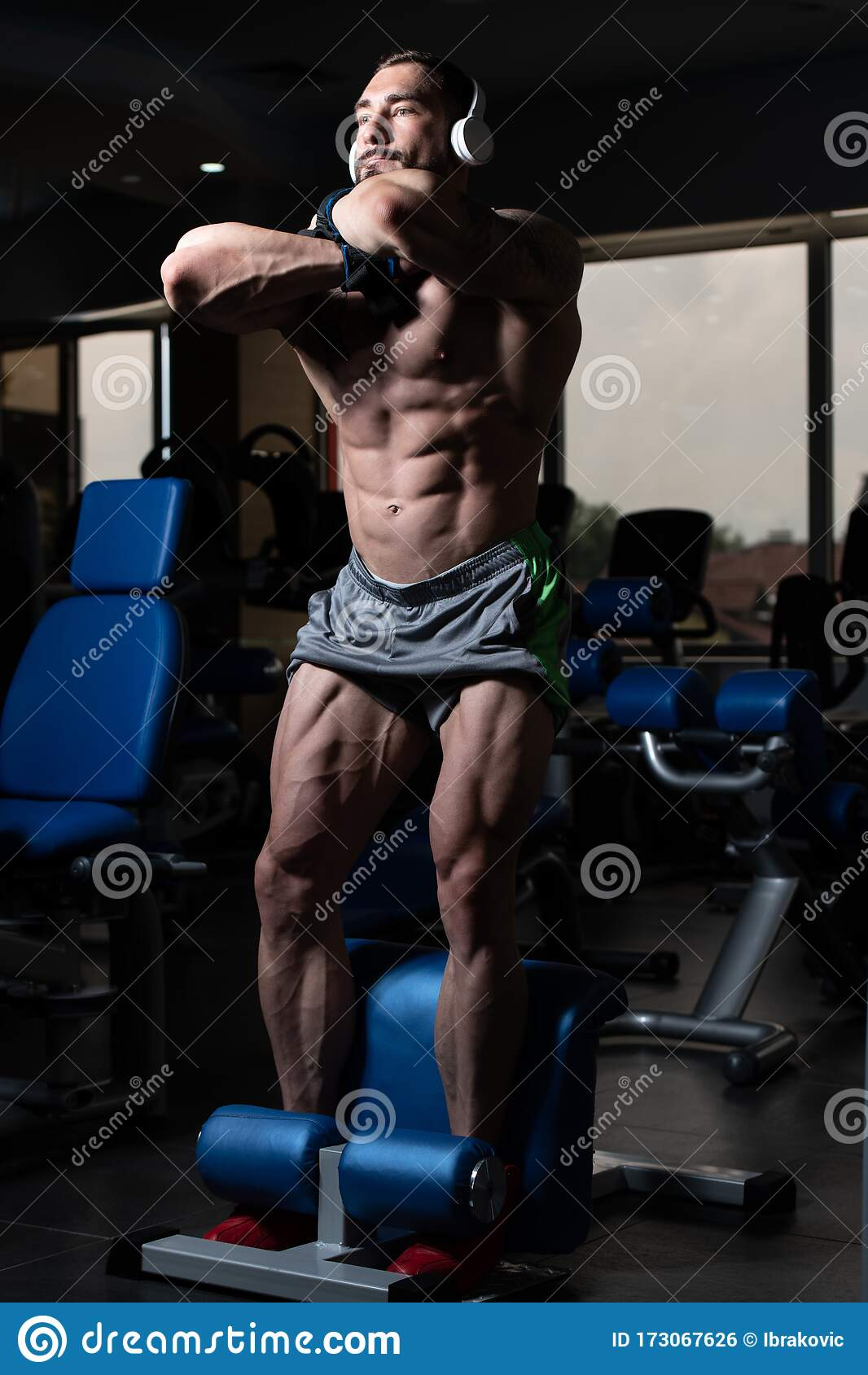 Athlete stretching - Stock Image - P960/0599 - Science