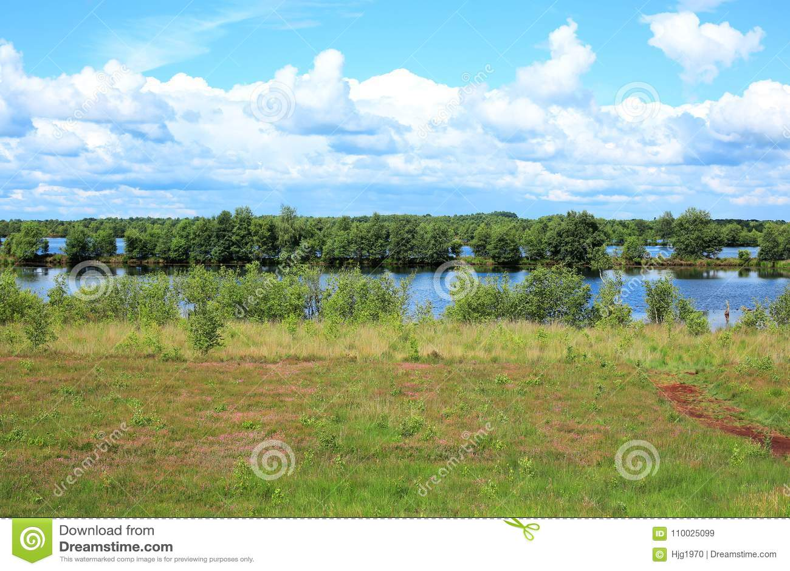 Leg landschap in Emsland, Nedersaksen, Duitsland vast