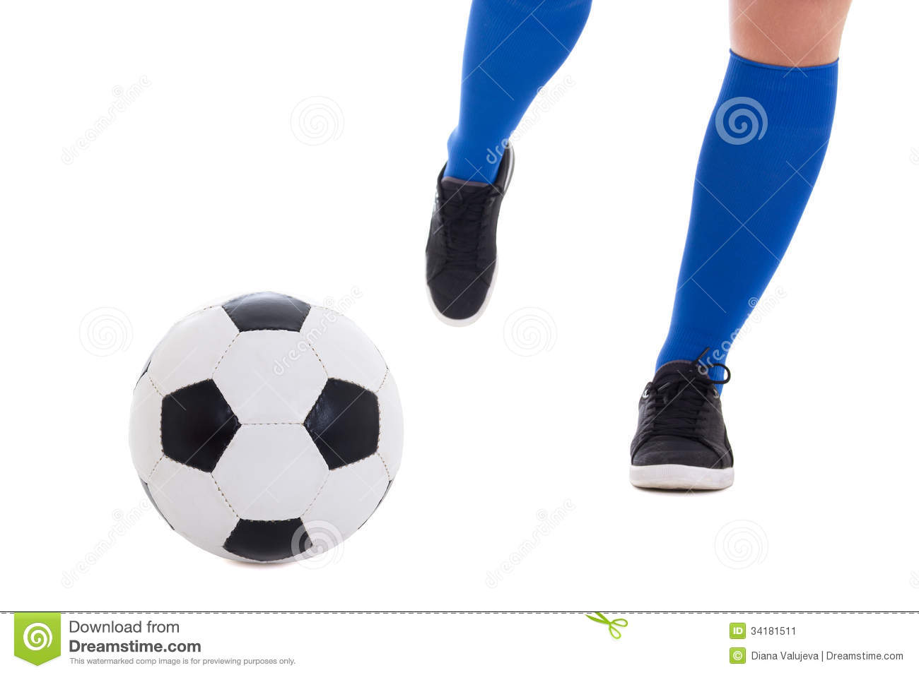 Leg Of Soccer Player In Blue Gaiters Kicking Ball Isolated ... Rolling Soccer Ball Animation