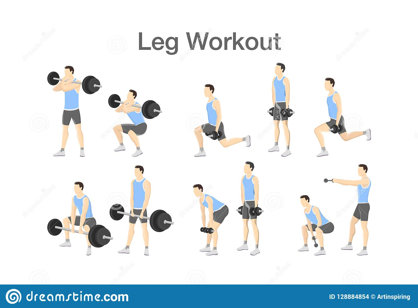Leg Workout Set With Dumbbell And Barbell Stock Vector Illustration Of Athletic Body 128884854