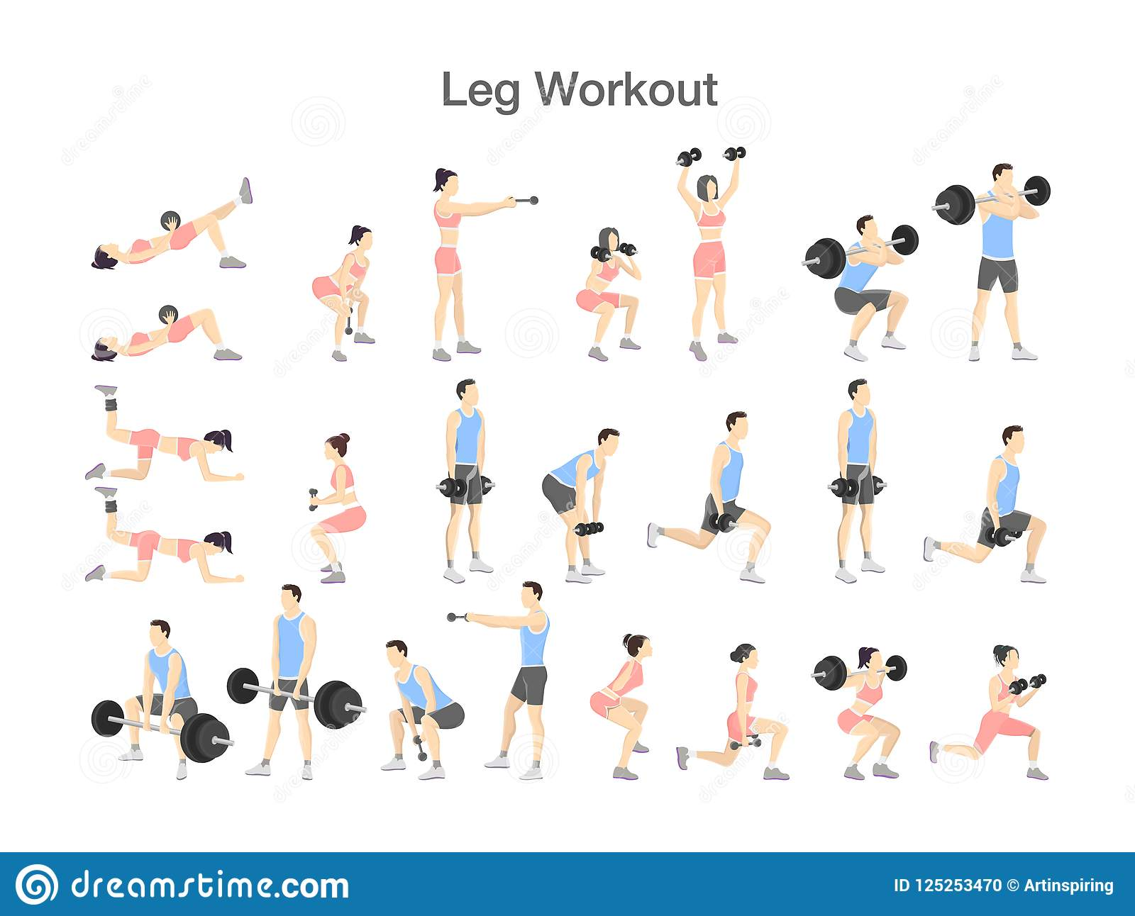 Leg Workout Set With Dumbbell And Barbell Stock Vector Illustration Of Activity Bench 125253470