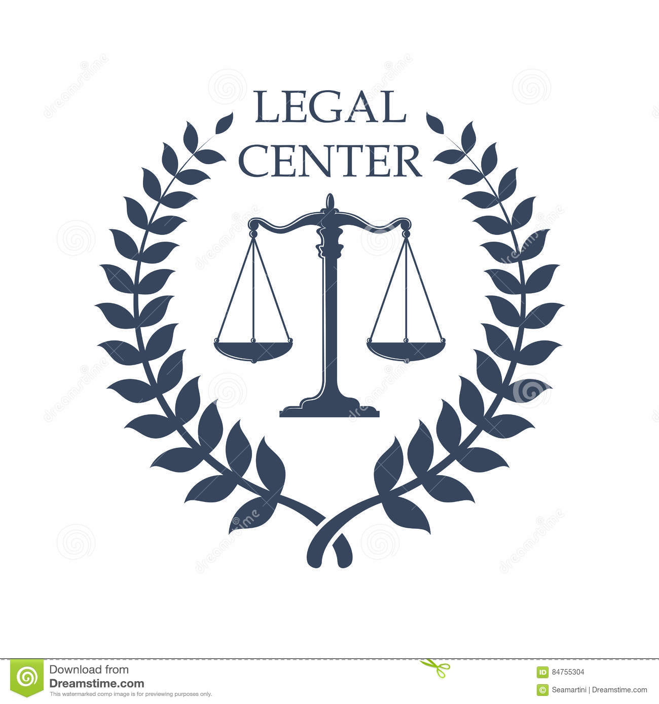 Legal Center Emblem With Scales Of Justice Icon Stock Vector