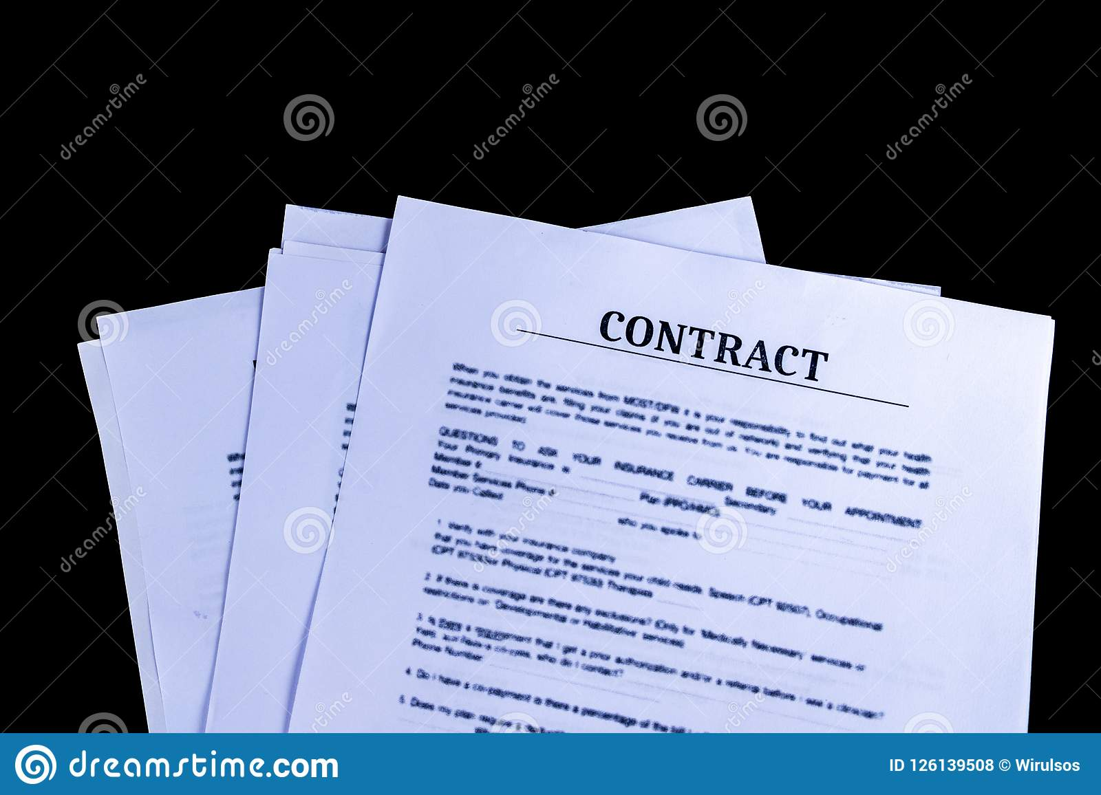 legal contract agreement documents papers with black background