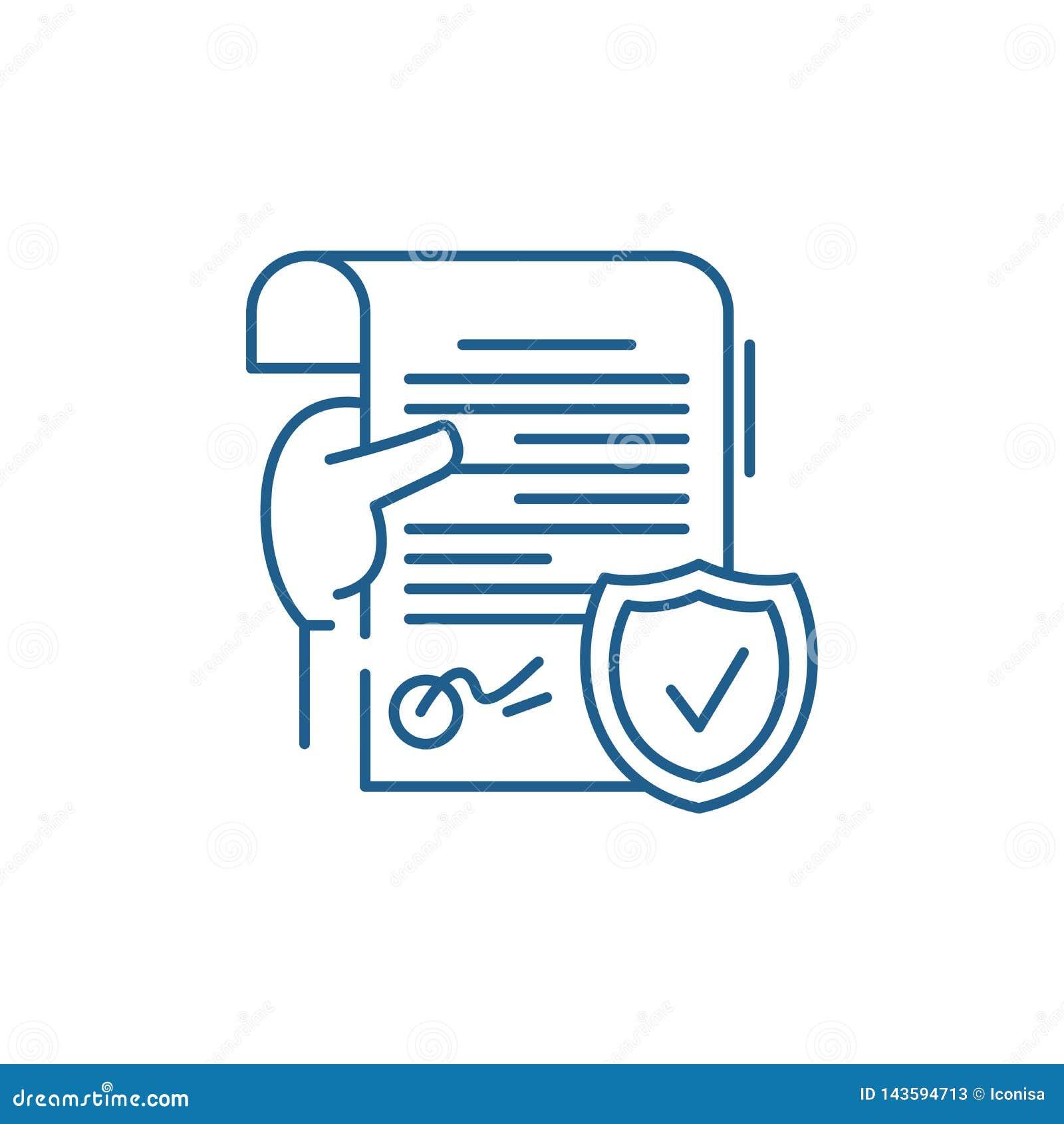 Legal Document Line Icon Concept. Legal Document Flat ...  Document Symbol