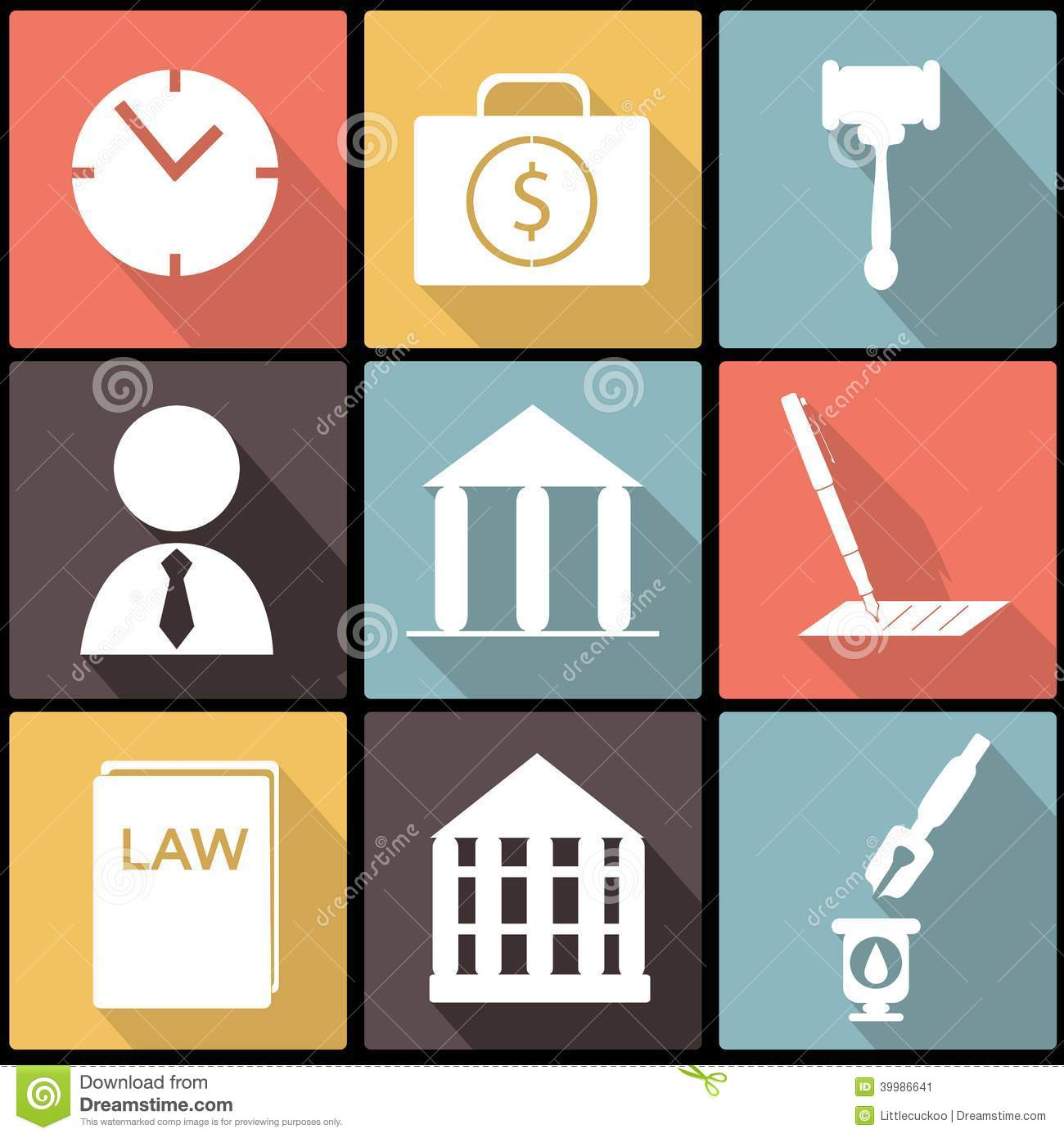 Legal, Law And Justice Icon Set In Flat Design Illustration 39986641 -  Megapixl