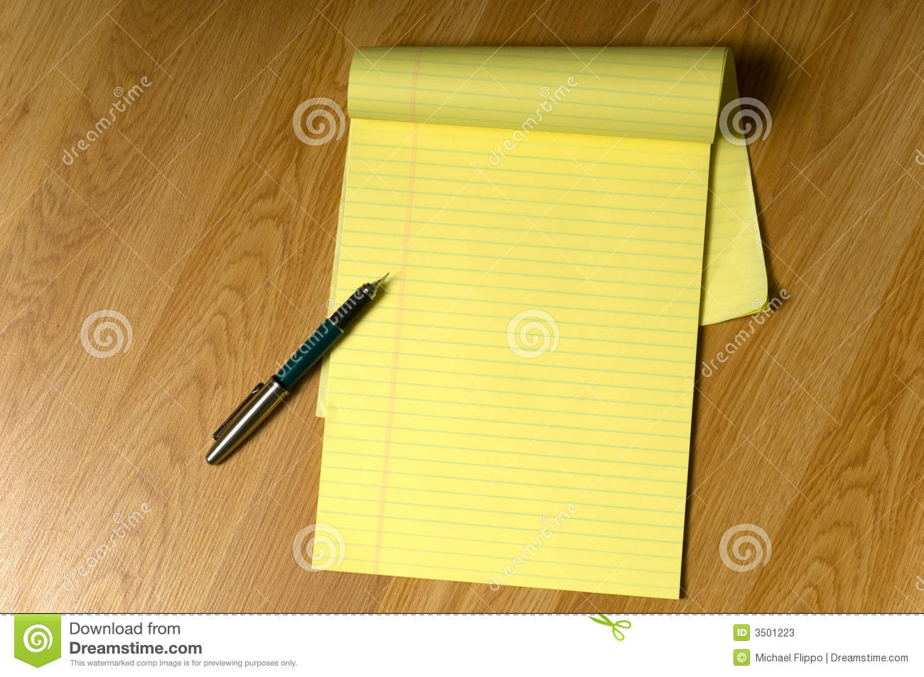 Legal Pad Pen Yellow Lined Stock