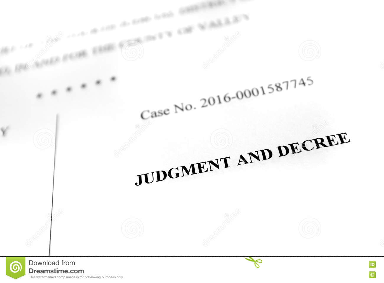 legal papers complaint judgment and decree stock image image of