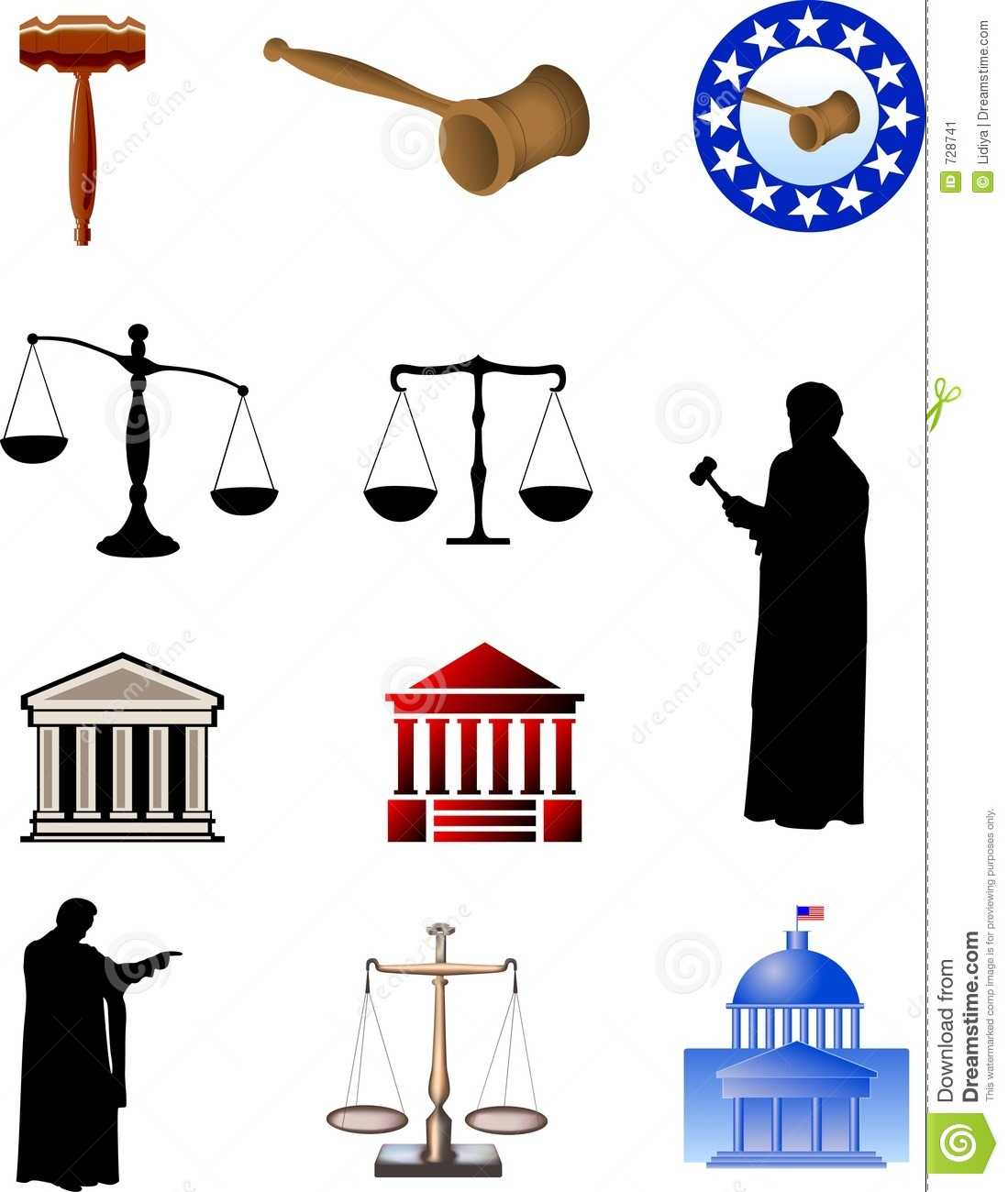 Symbols of justice. Digital illustration.