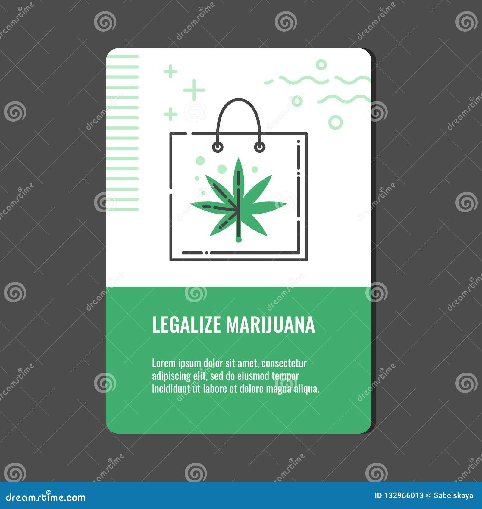 Legalice la bandera vertical de la marijuana con la línea icono de bolso de compras con la hoja del cáñamo