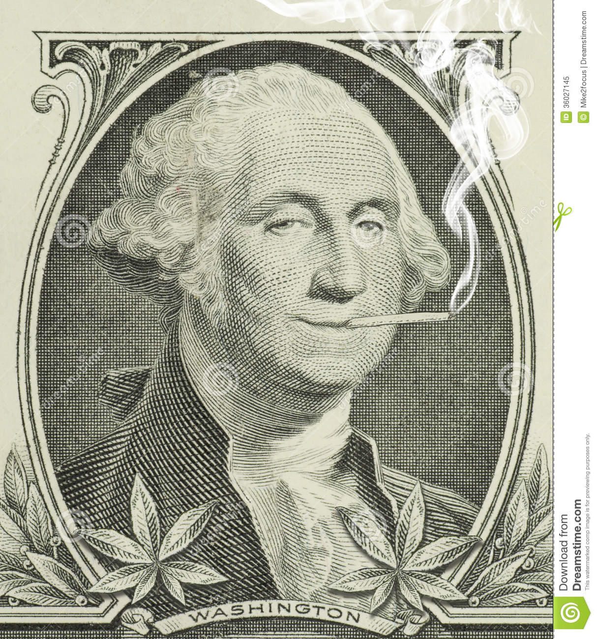 George Washington smoking a joint with pot leaves along the bottom ...