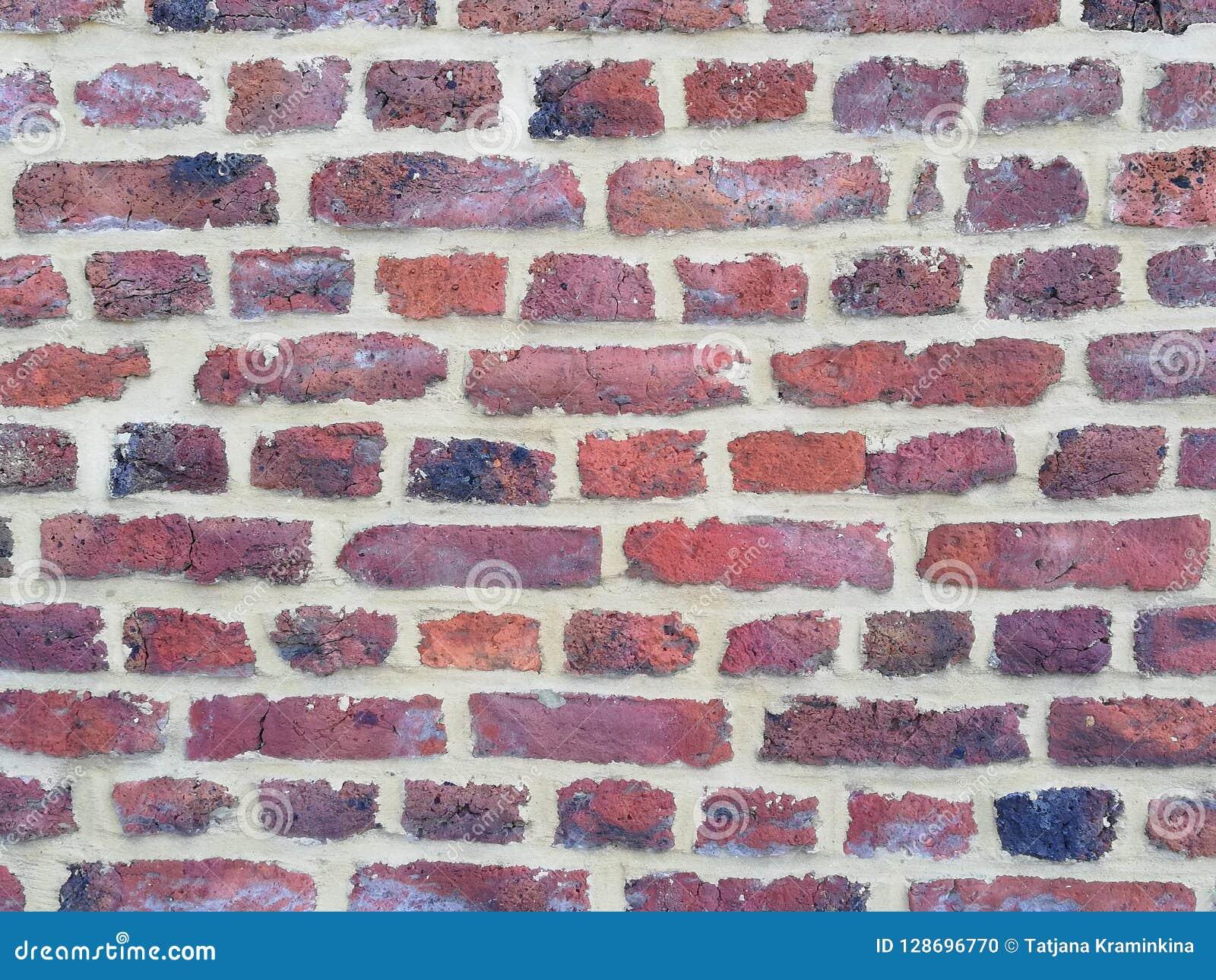 Lege Bakstenen muurtextuur Geschilderde Verontruste Muuroppervlakte Grungy Brede Brickwall Het Grungerood obstructie voert achter