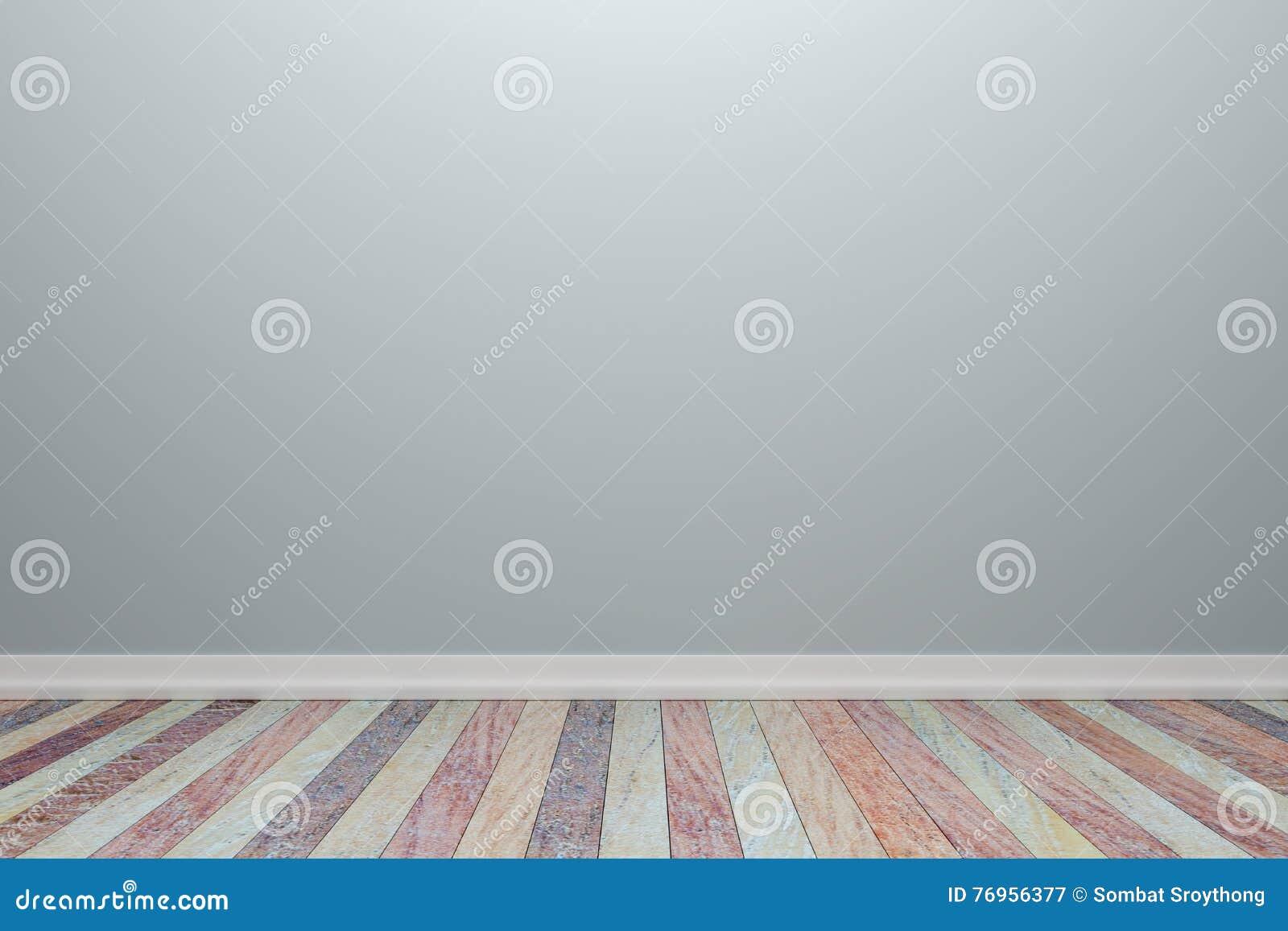 Lichtgrijze Houten Vloer : Lege binnenlandse lichtgrijze ruimte met houten vloer voor