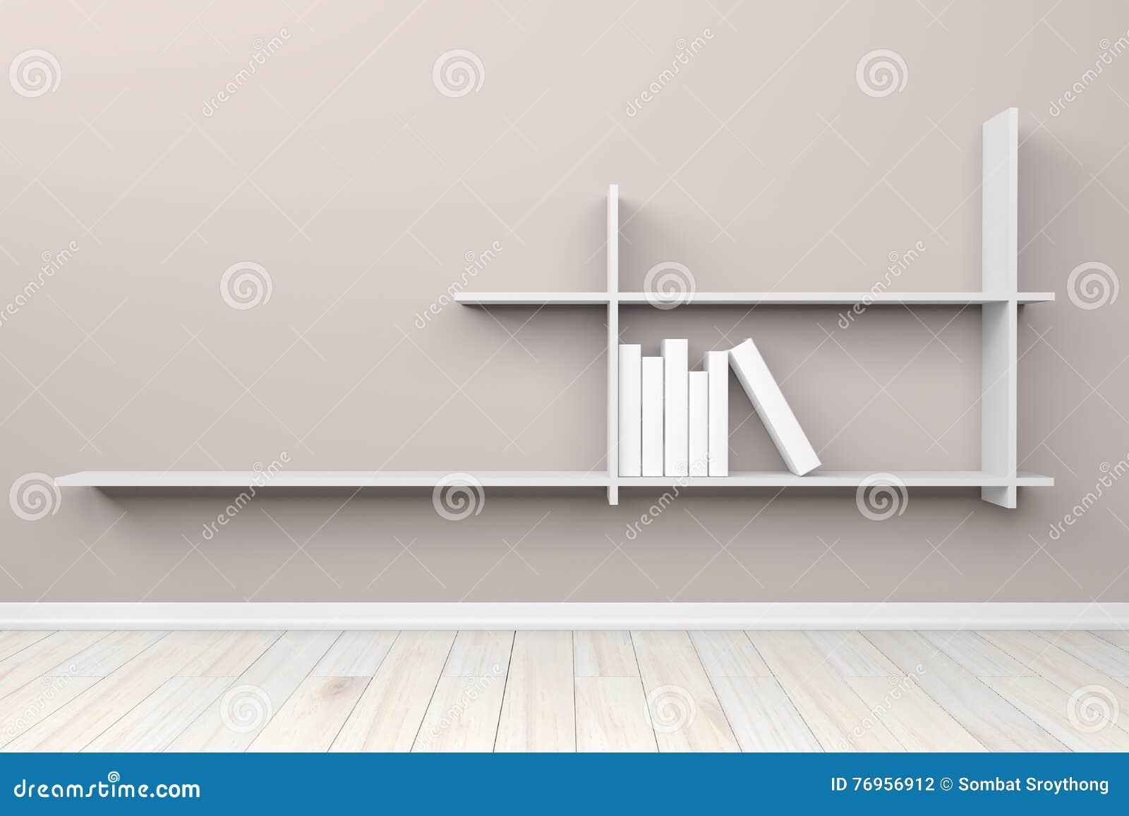 Lege binnenlandse lichtgrijze ruimte witte witte plank en houten