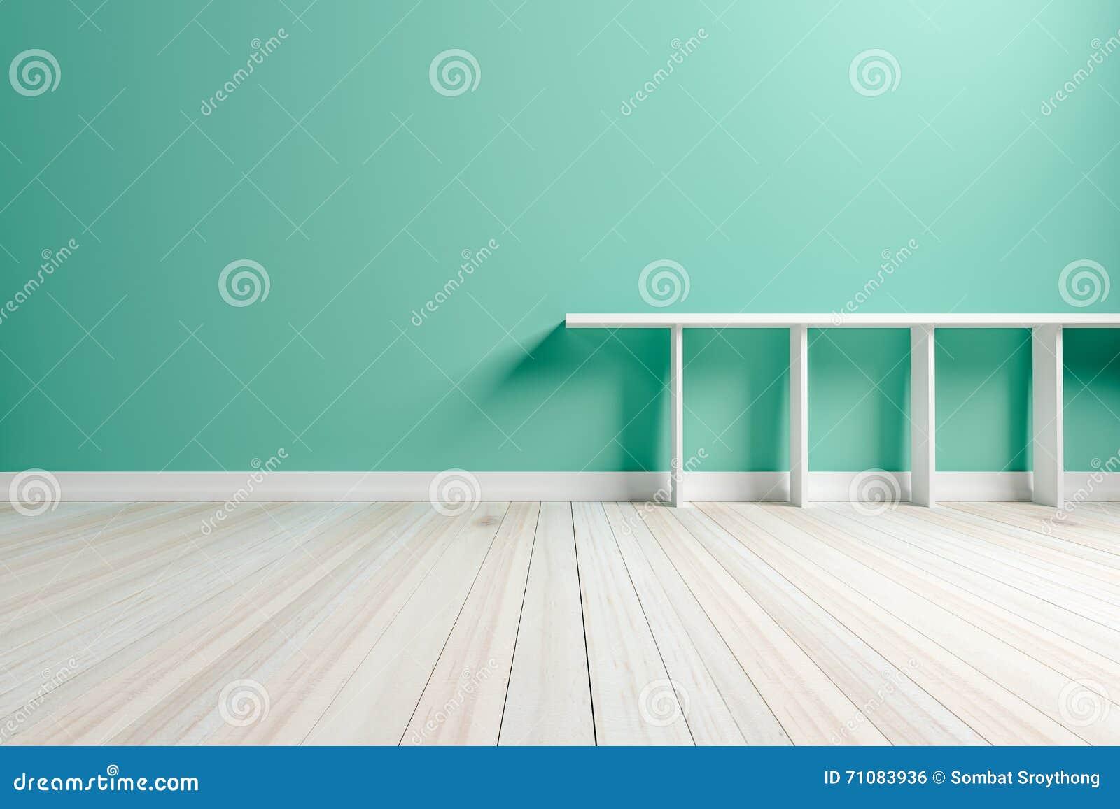 Lege binnenlandse lichtgroene ruimte witte witte plank en houten