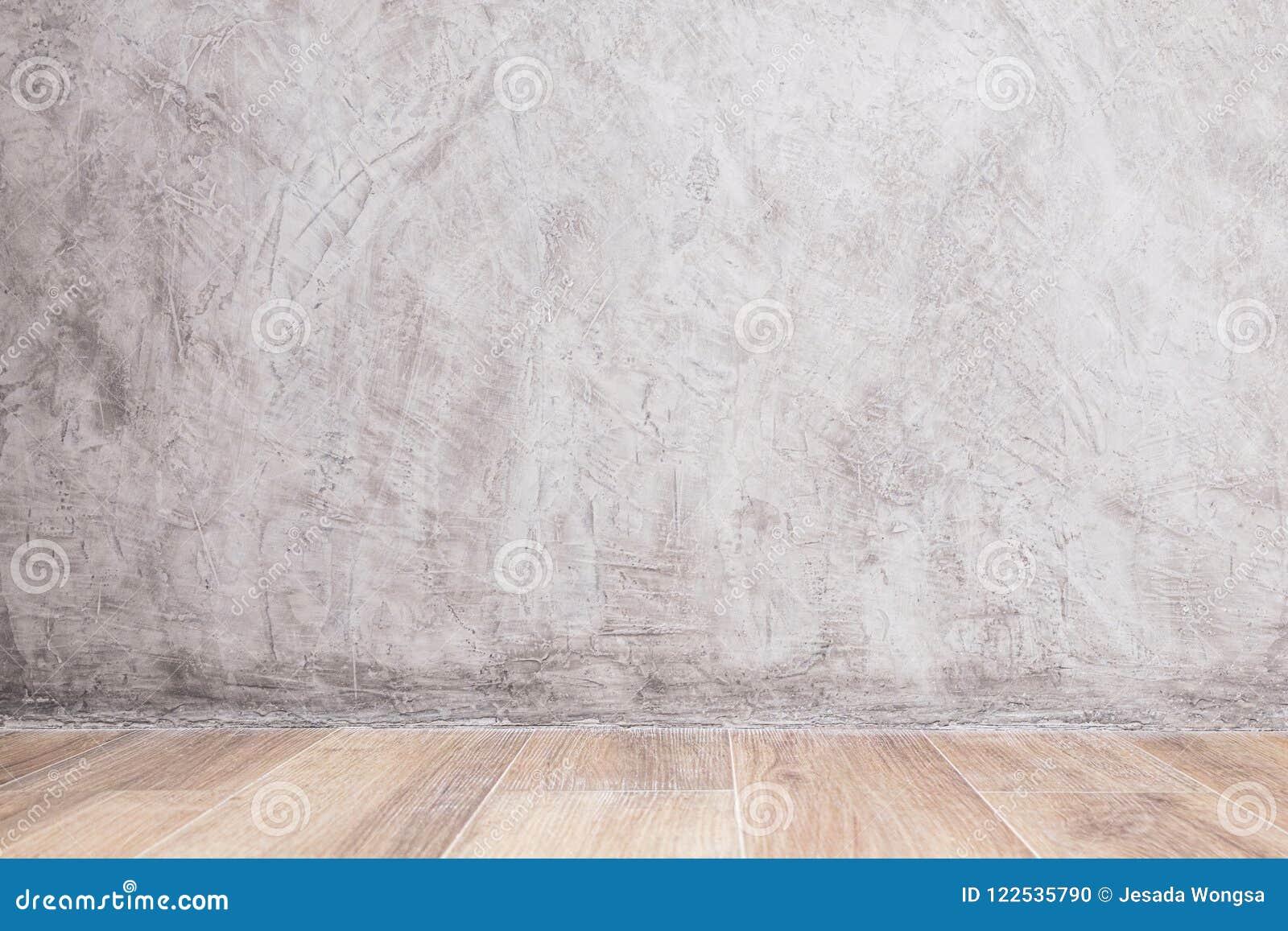 Verf Houten Vloer : Lege binnenlandse ruimte met verf concrete muur en houten vloer