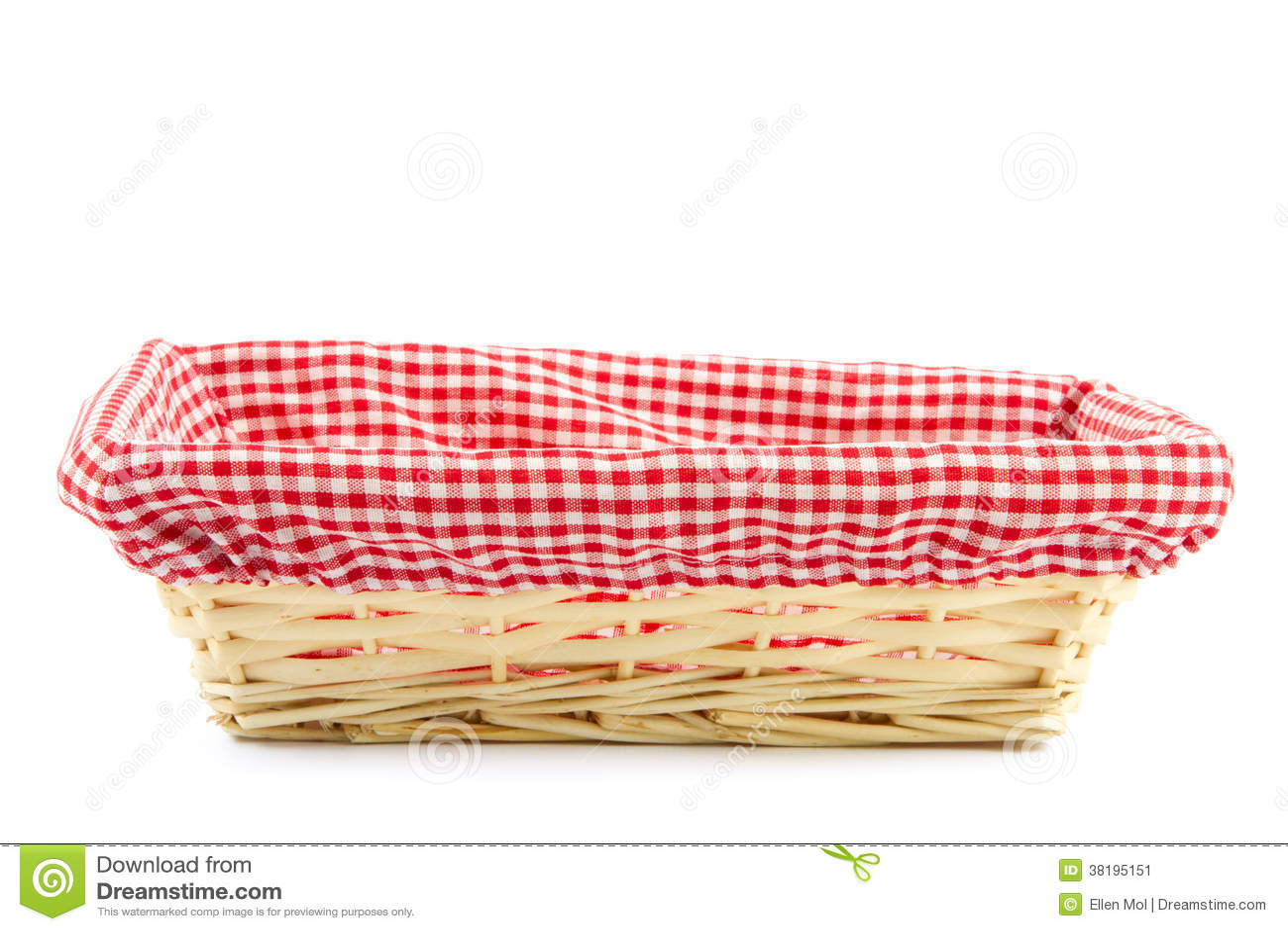 Lege broodmand met geruite doek stock afbeelding afbeelding 38195151 - Mandje doek doek ...