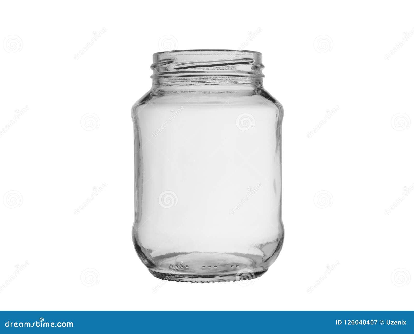 Lege die glaskruik met een draad voor levensmiddel op een witte achtergrond wordt geïsoleerd