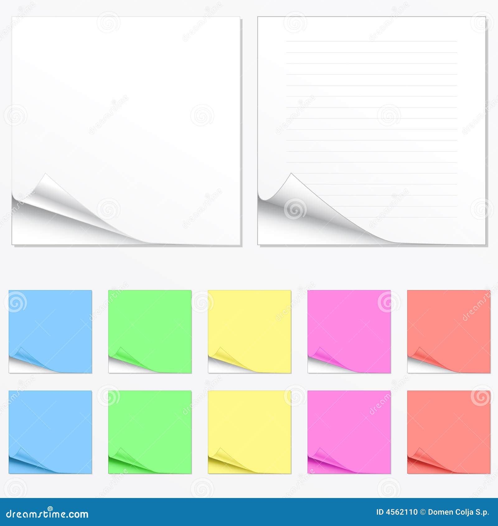 Lege document stootkussens in verschillende kleuren