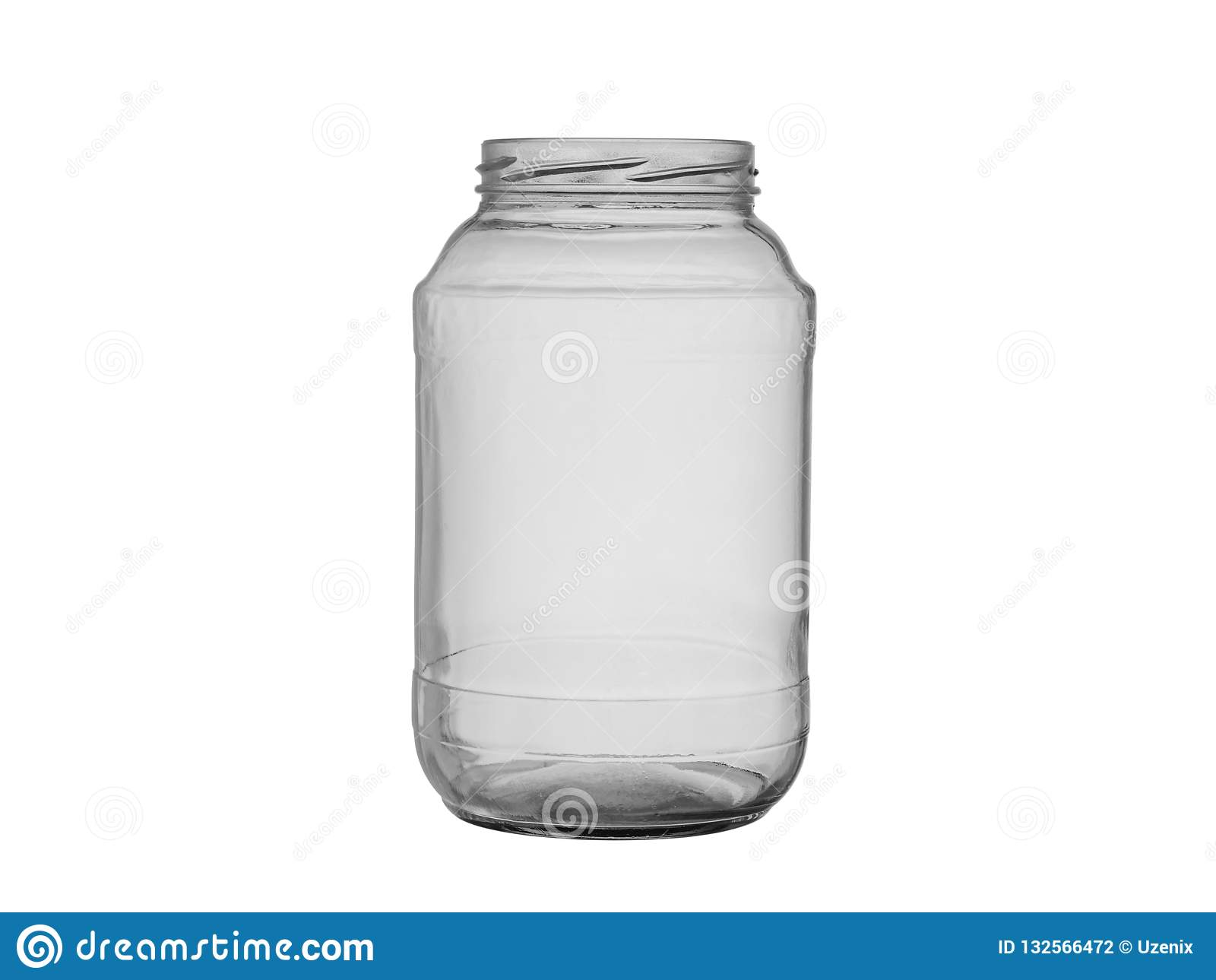 Lege glaskruik voor ingeblikt voedsel en levensmiddel op een witte achtergrond