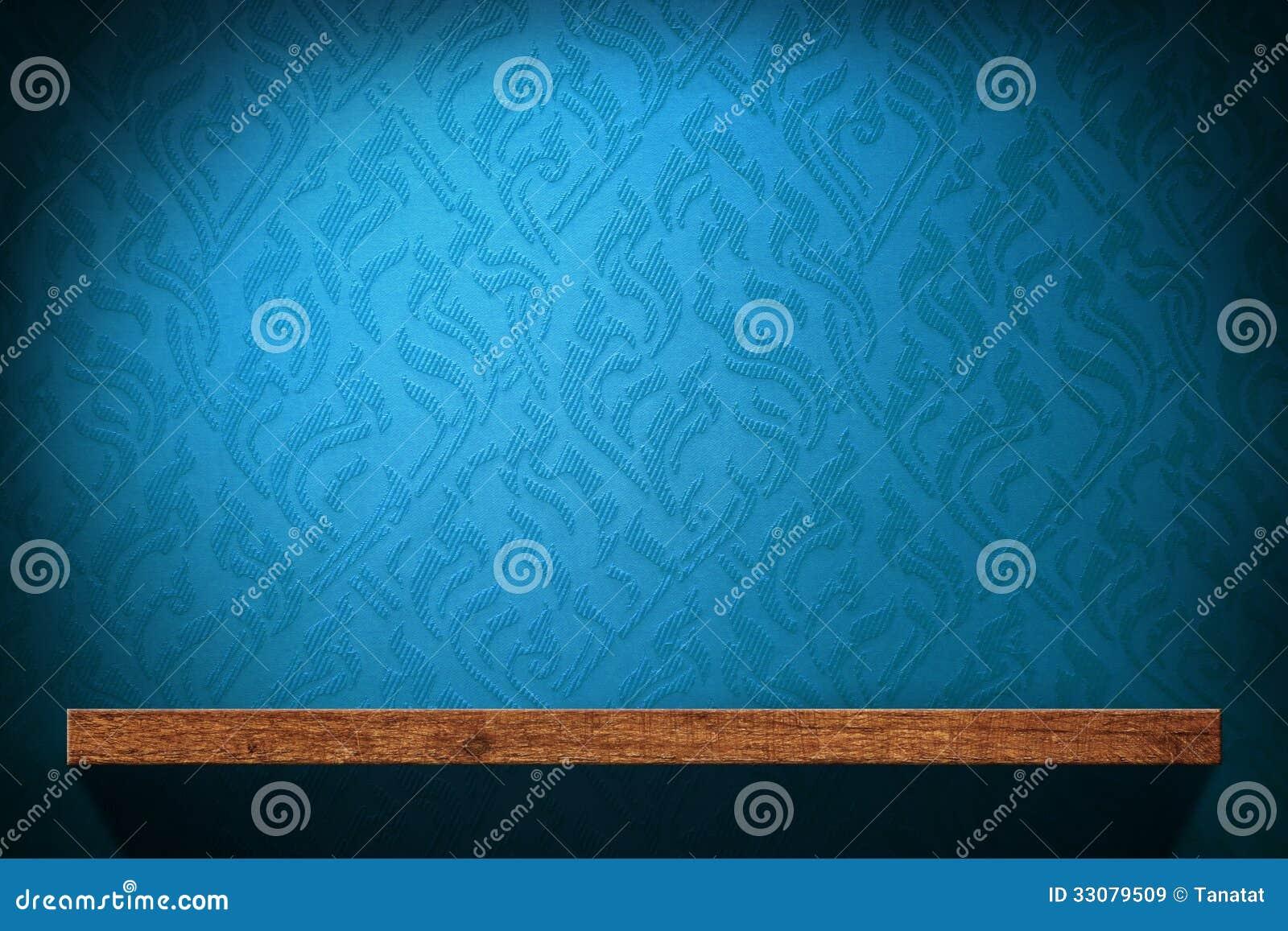 Lege Houten Plank Met Blauw Retro Behang Royalty-vrije Stock ...