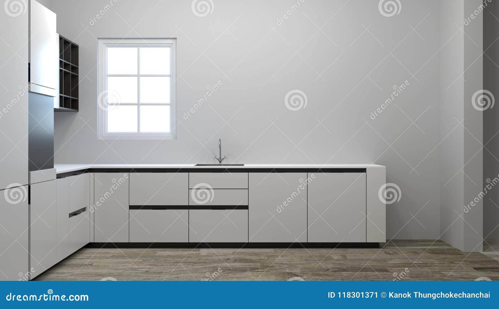 Lege keukenkast die op nieuwe huis wachten die van de decoratie d