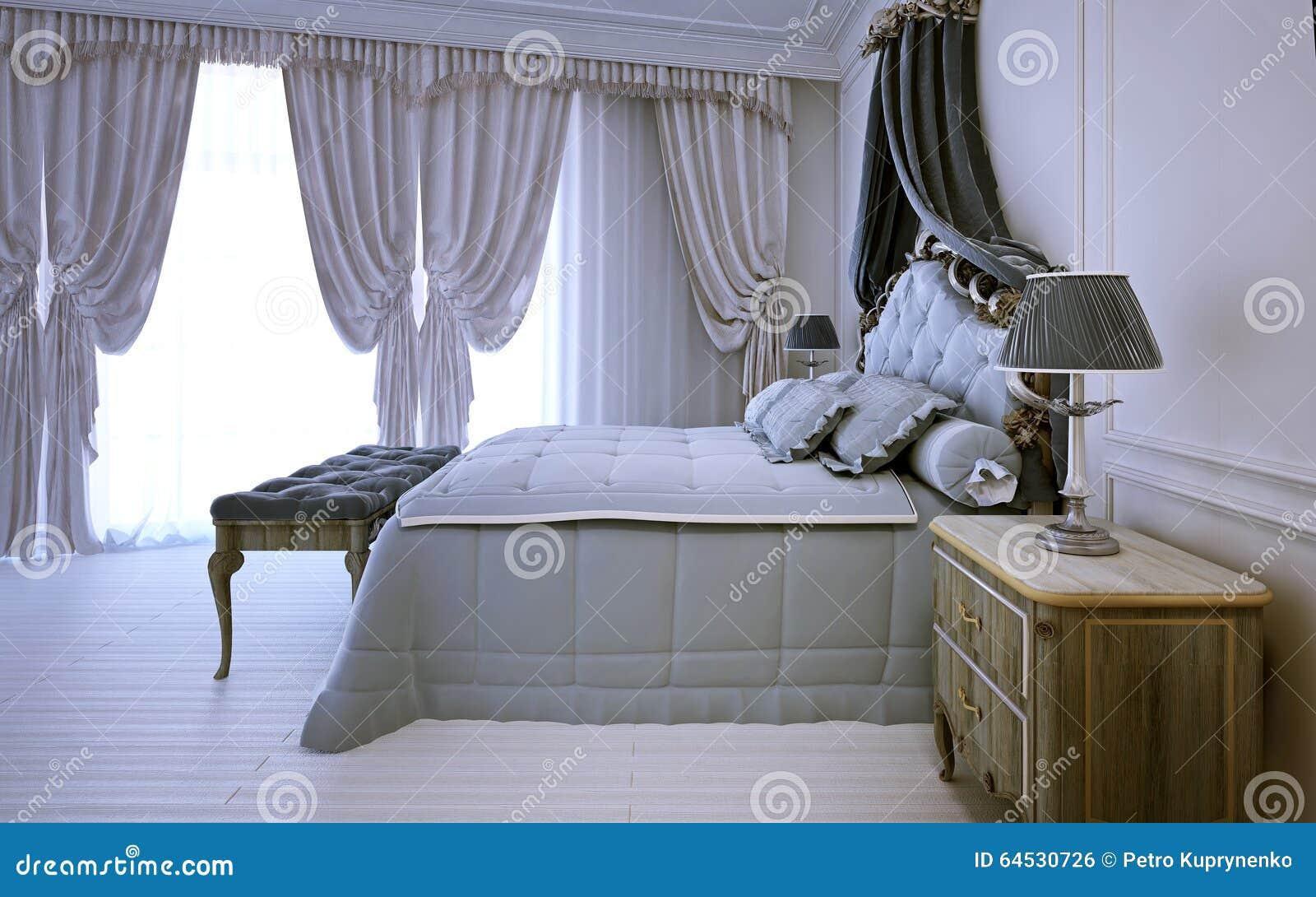Lege Koninklijke Slaapkamer In Neoclassic Ontwerp Stock Foto ...