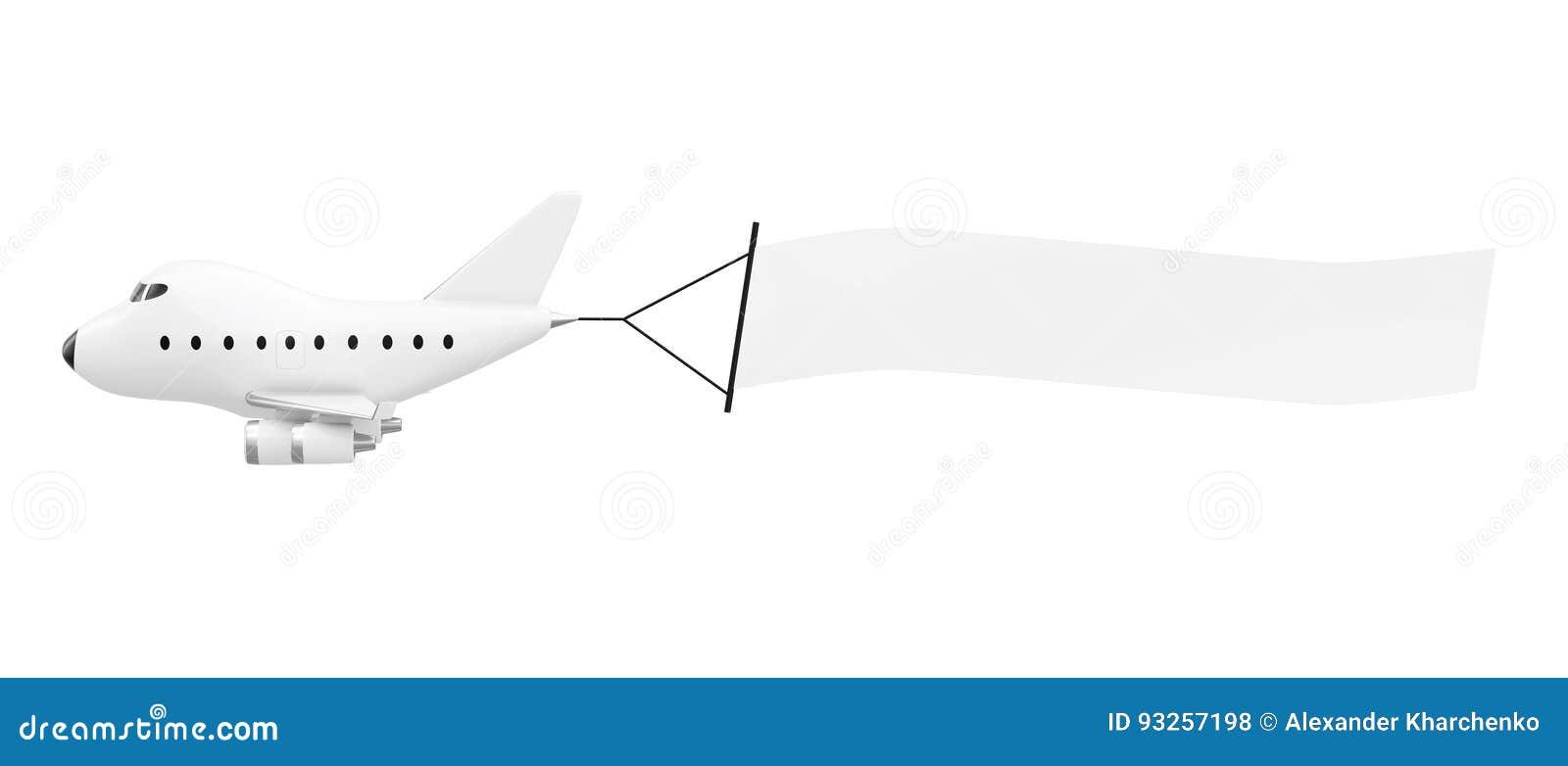 Lege lucht reclame Beeldverhaal Toy Jet Airplane met Lege Bedelaars