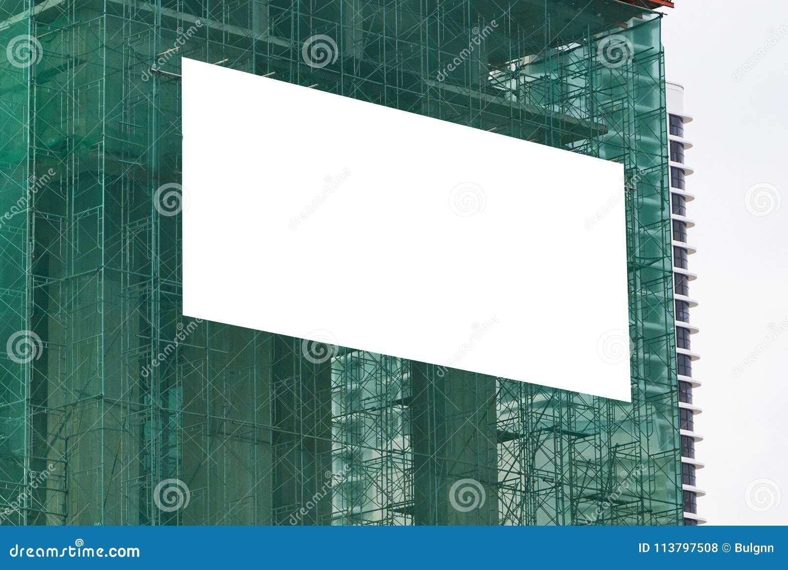 Lege model openlucht reclame met exemplaarruimte op de muur