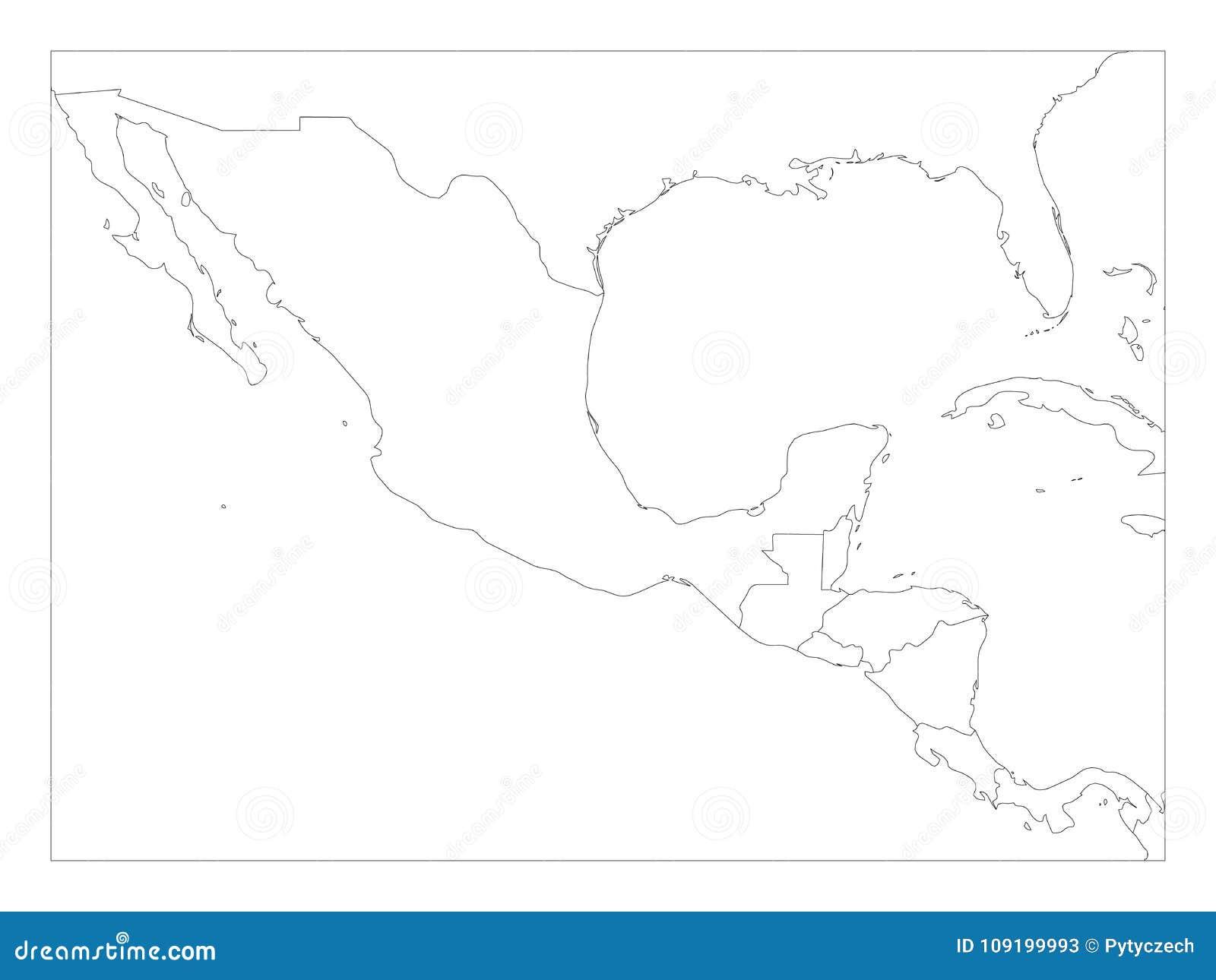 Lege politieke kaart van Midden-Amerika en Mexico Eenvoudige dunne zwarte overzichts vectorillustratie