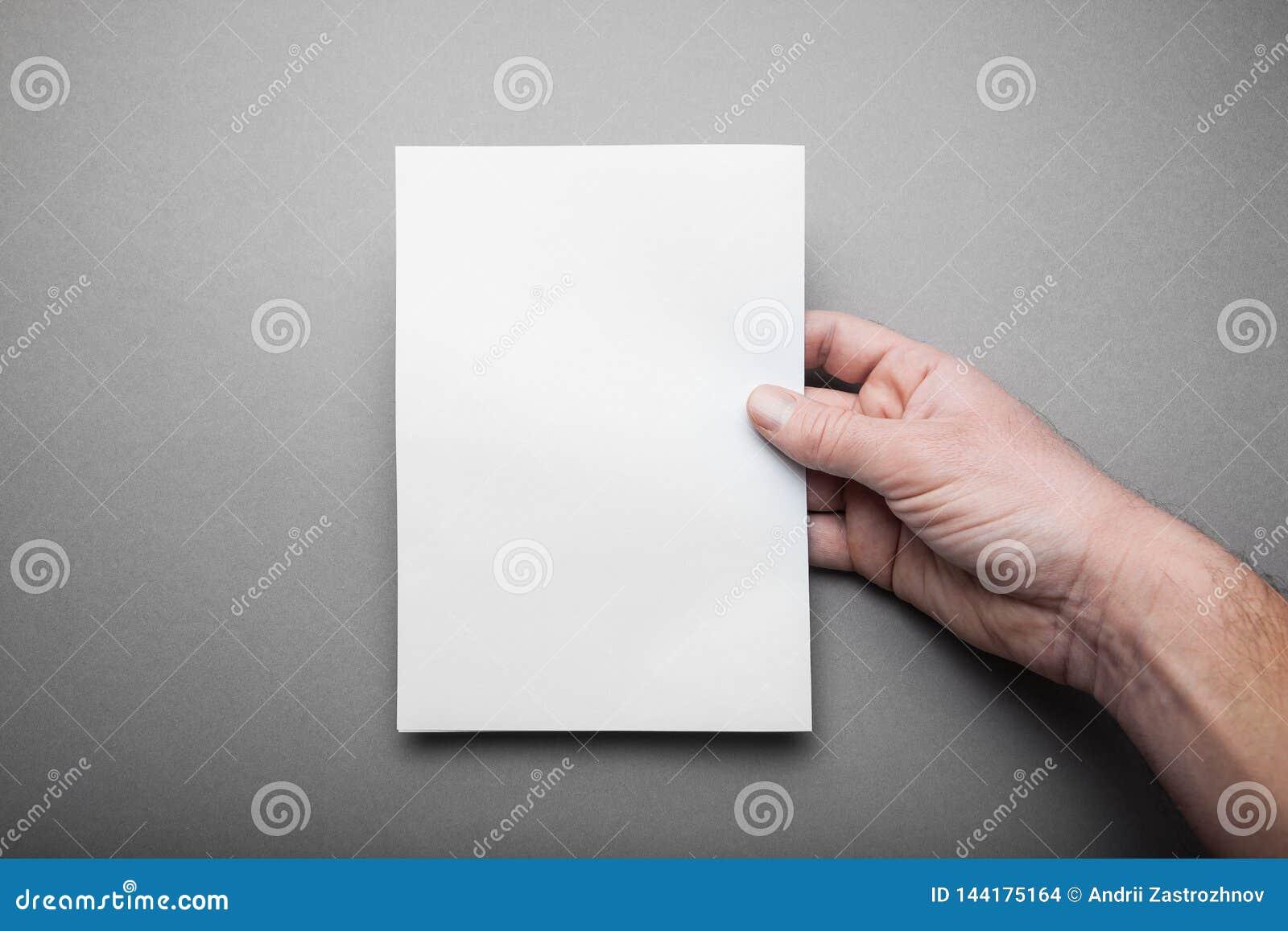 Lege Prototype Lege catalogus, tijdschrift, boekmalplaatje in mensenhand met zachte schaduwen op grijze achtergrond voor ontwerp