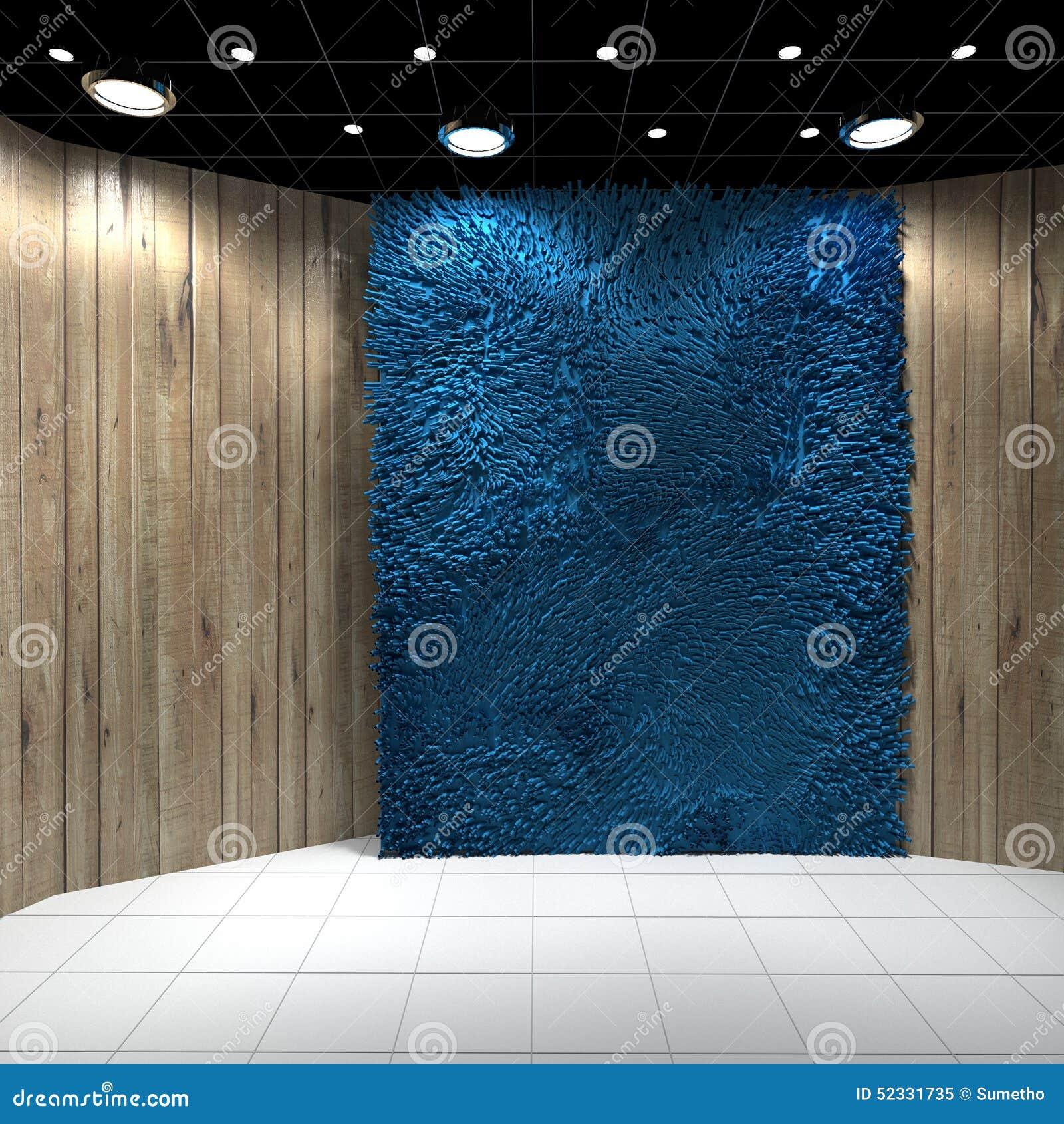 Lege Ruimte Met Blauw Tapijt Op Houten Muur Stock Illustratie ...