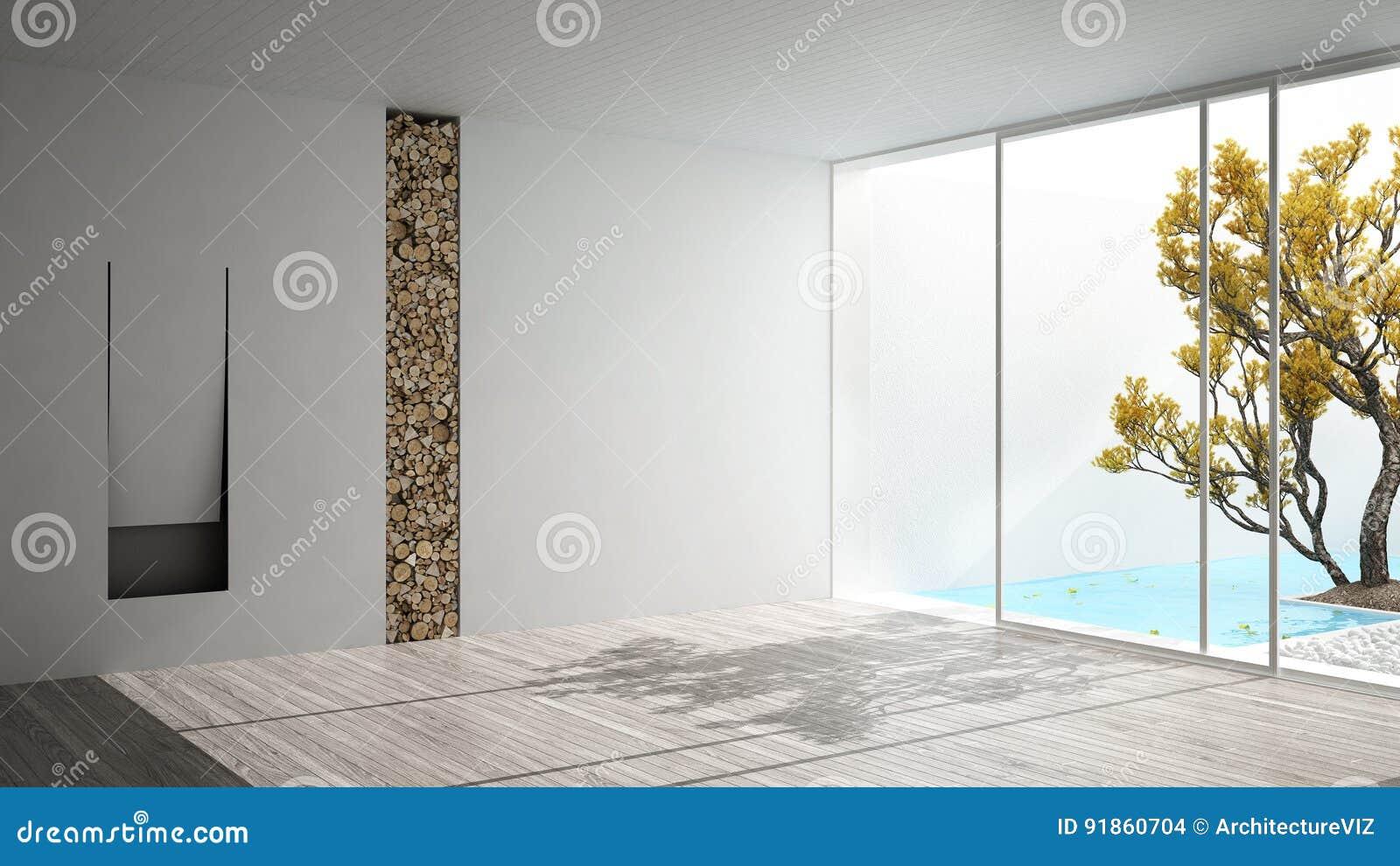 Open Haard Tuin : Lege ruimte met open haard en groot panoramisch venster op tuin en