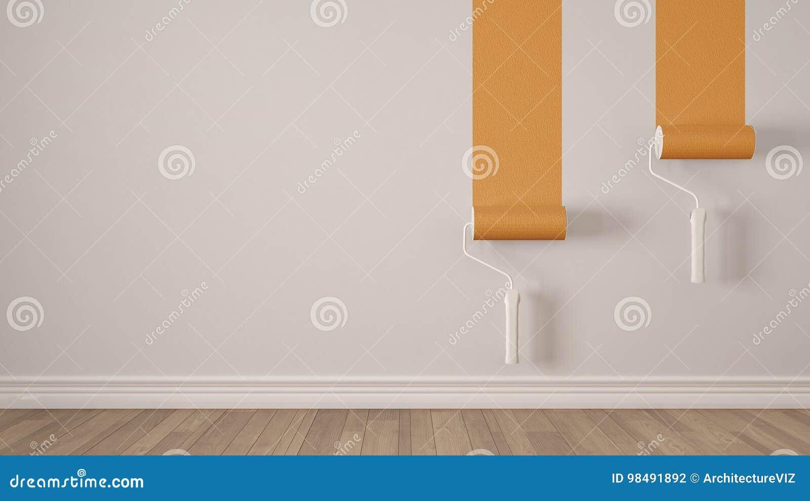 Lege ruimte met verfrollen en geschilderde muur houten vloer wh