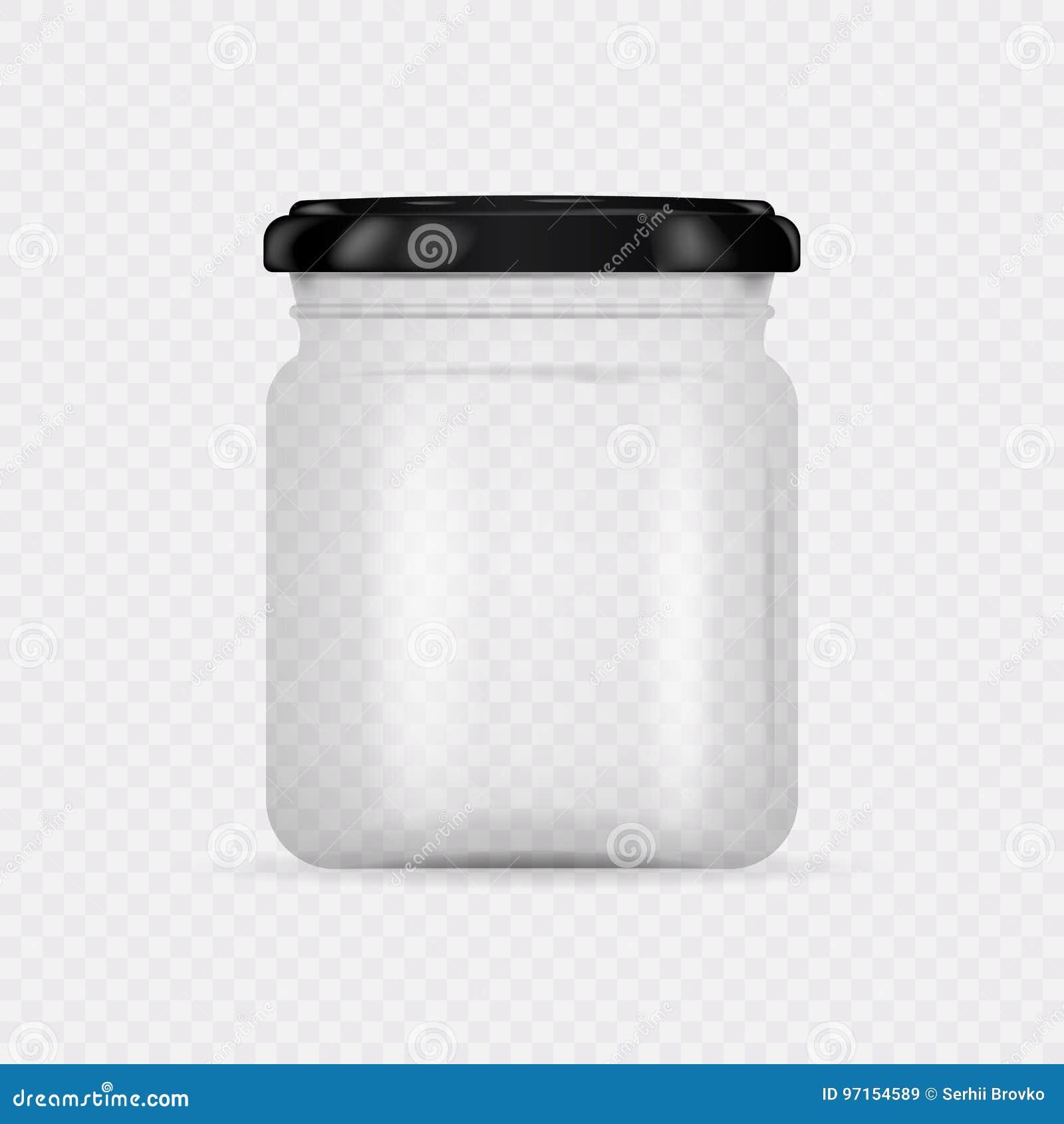 Lege transparante glaskruik met schroefdeksel