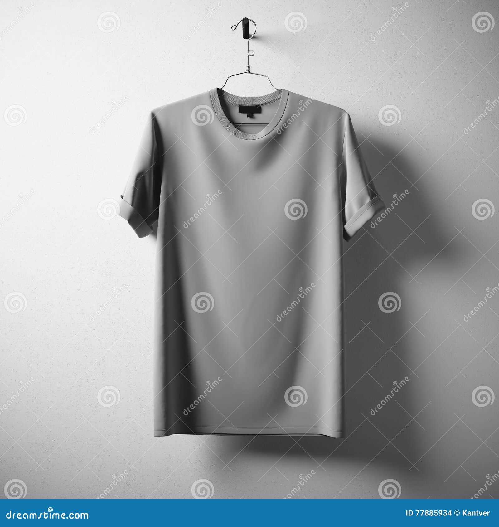 Lege Witte Concrete Lege de Muurachtergrond van Gray Cotton Tshirt Hanging Center Het model detailleerde hoogst Textuurmaterialen